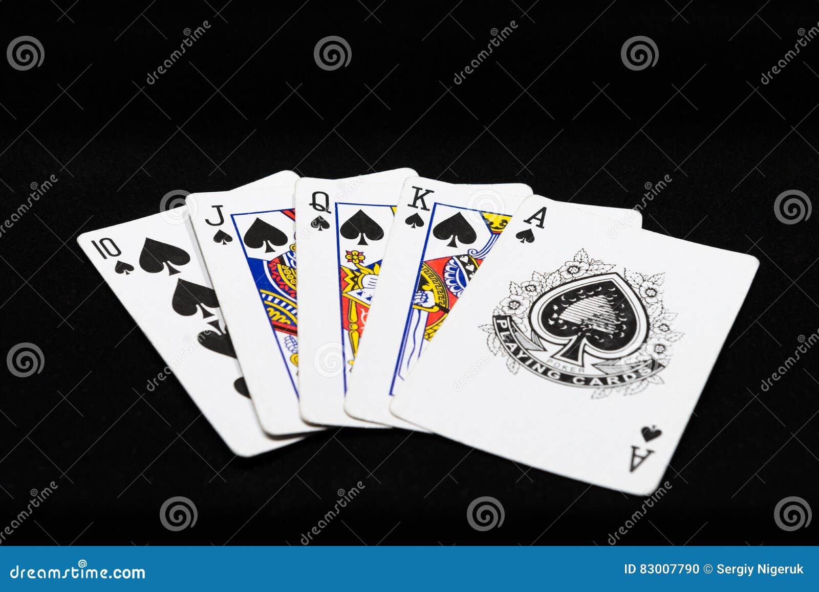 Kombination des Royal Flushs der Spielkarten