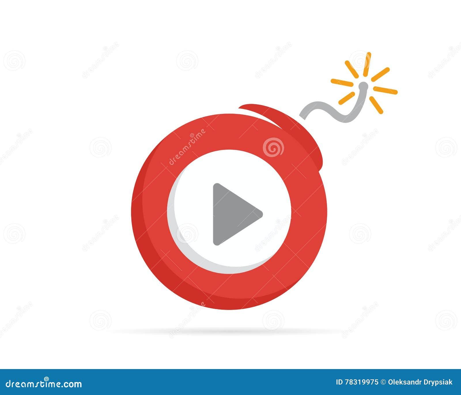 Kombinationen för vektorlogodesignen av en lekknapp och bombarderar Spela knappen och bombardera symbolet eller symbolen