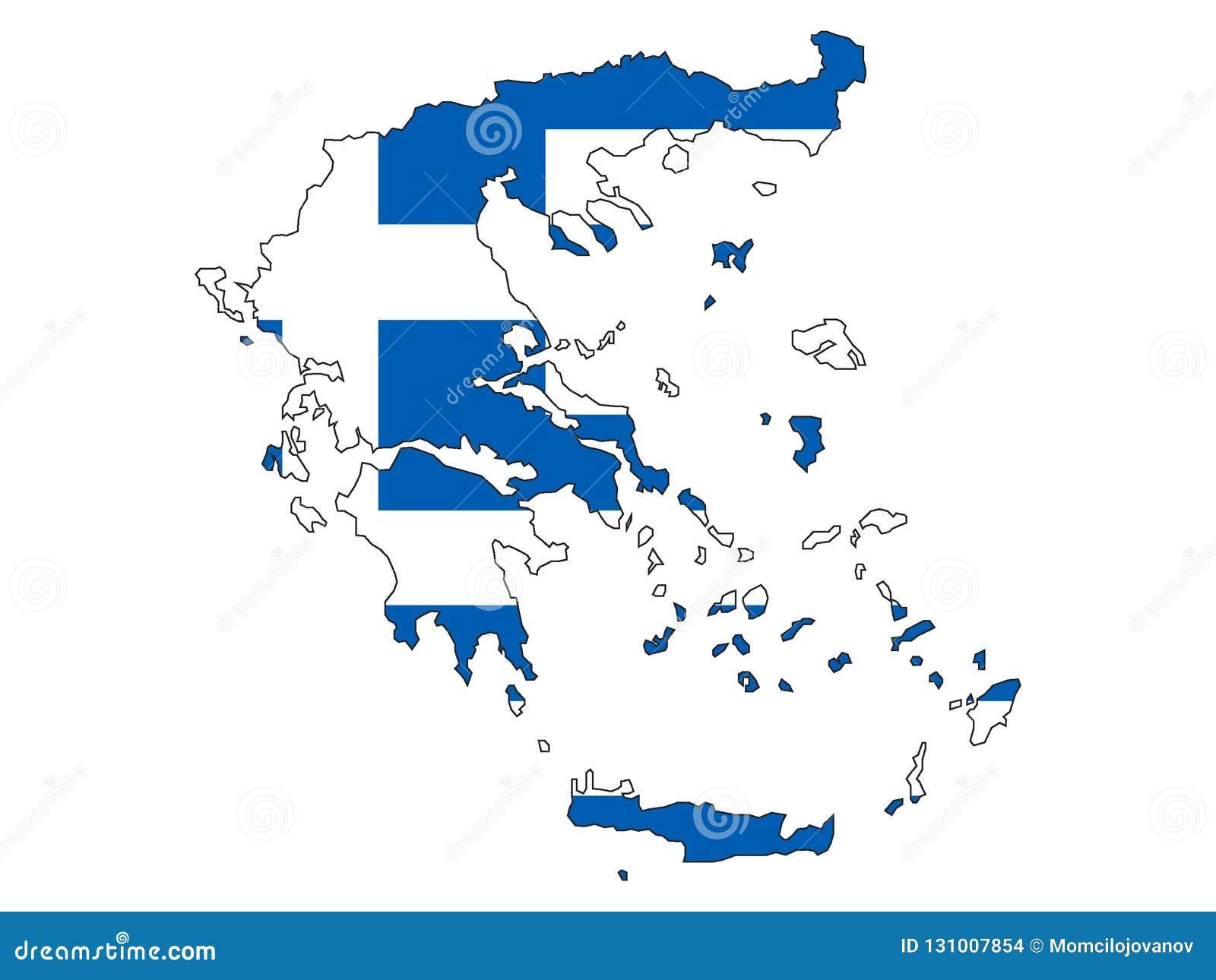 Kombinerad översikt och flagga av Grekland