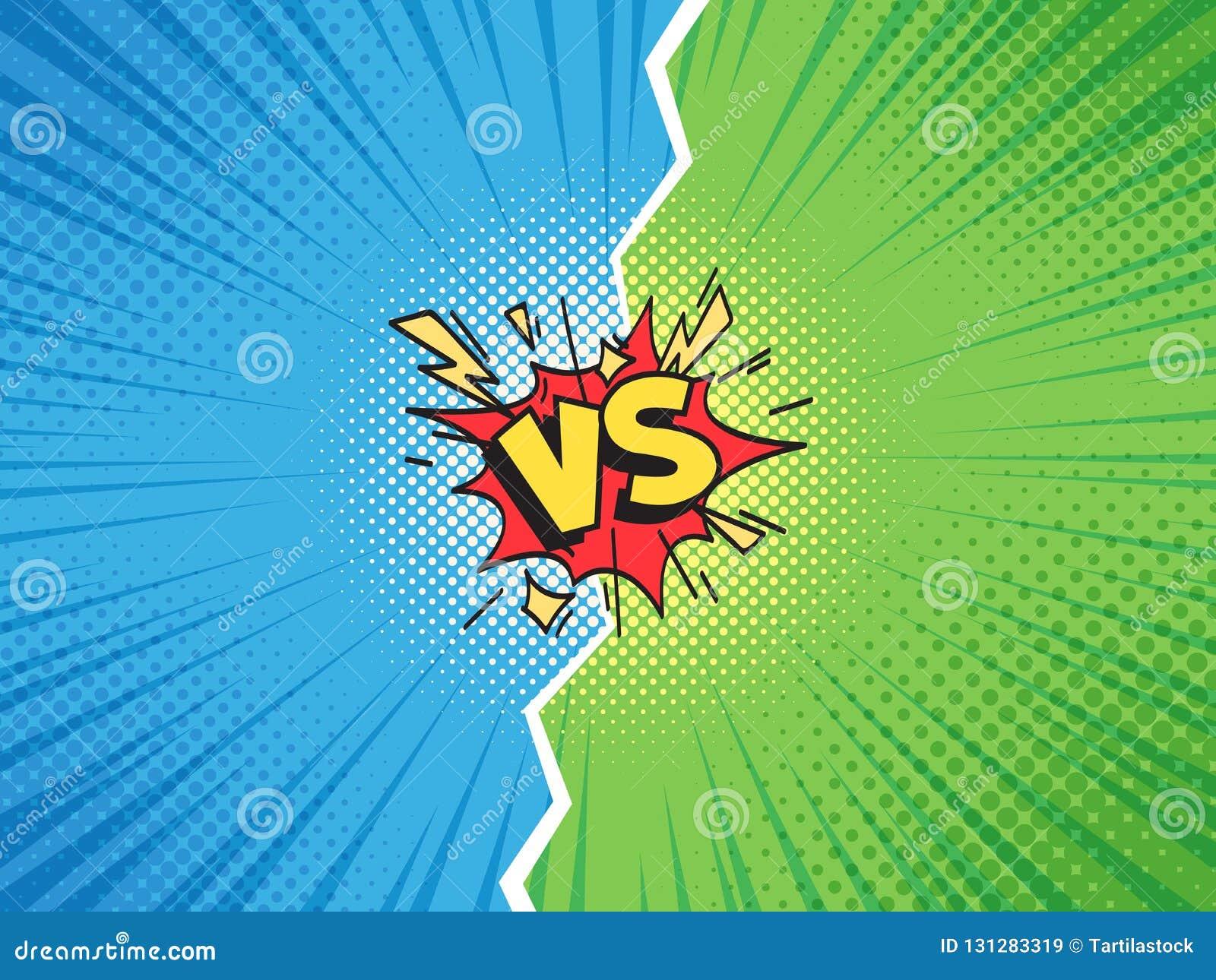 Komiczki rama VS Versus pojedynek drużyny lub bitwy wyzwania konfrontacji kreskówki komiczek tła halftone ilustracja