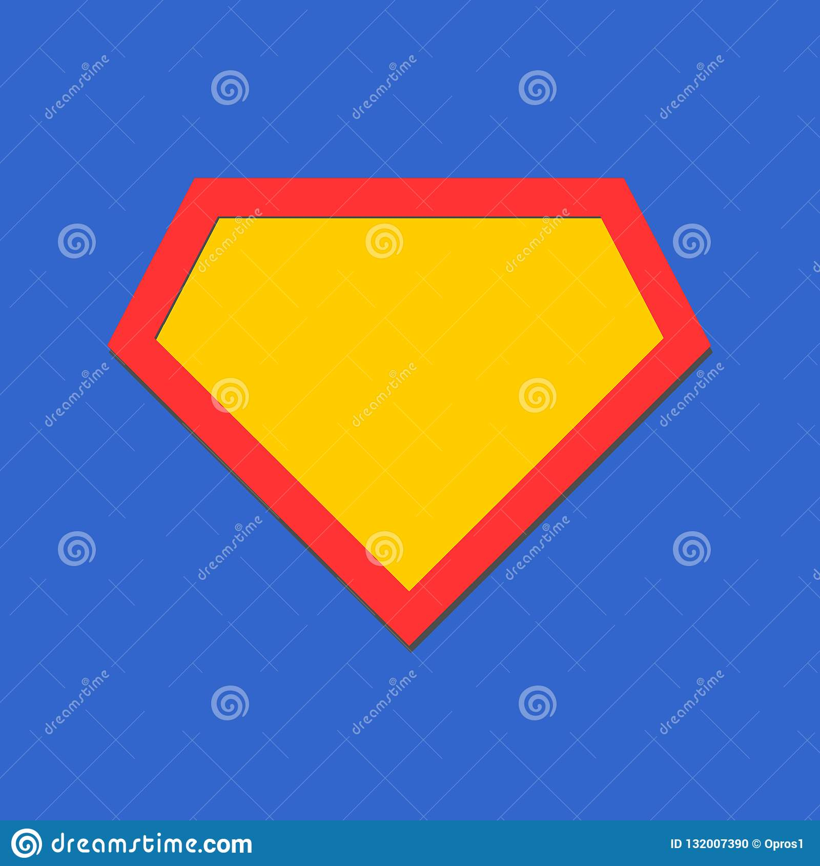 Komiczna bohater ikona, symbol osłona Odosobniony wektor na błękitnym tle