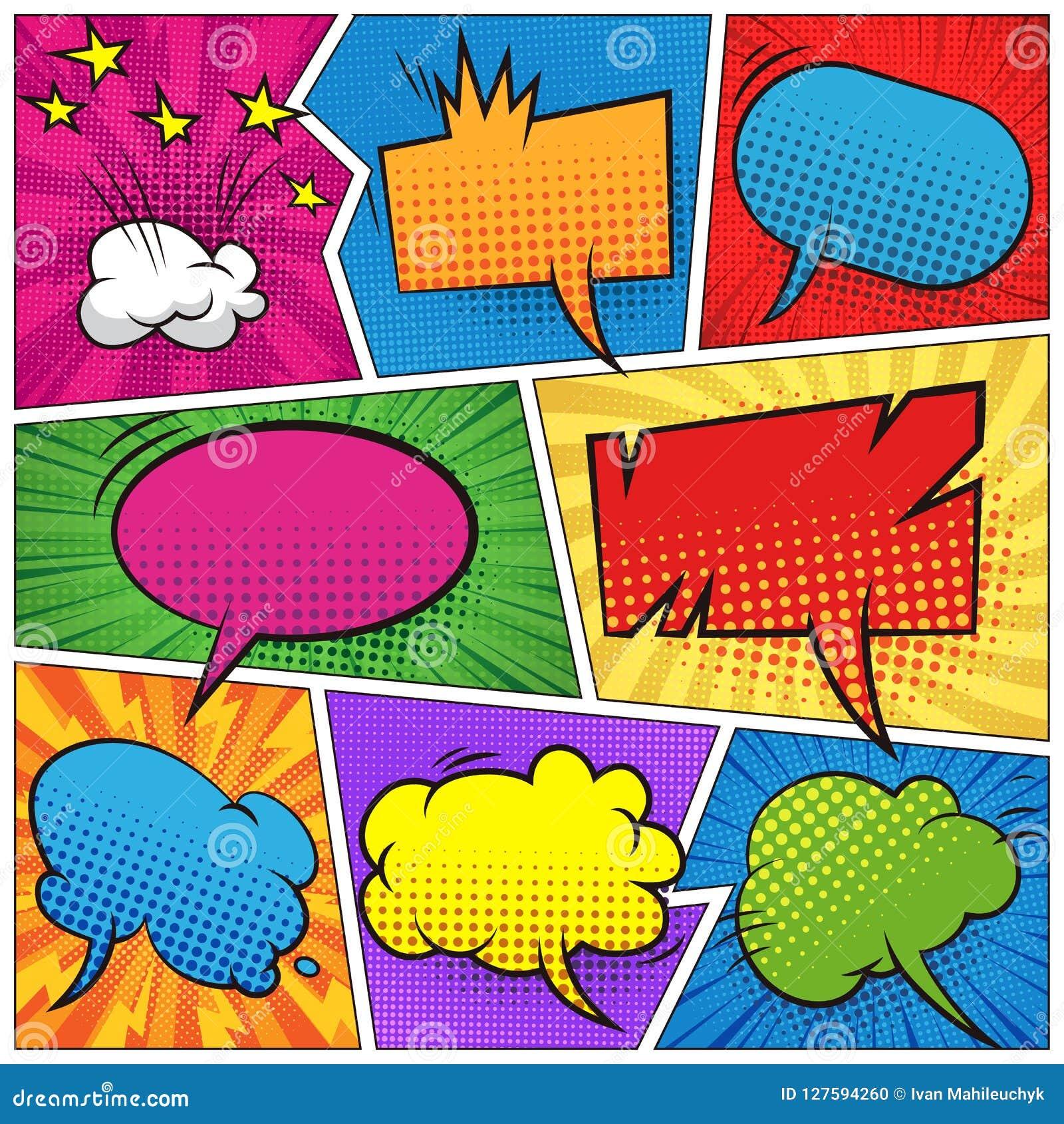 Komiczni kolorowi puści mowa bąble ustawiający