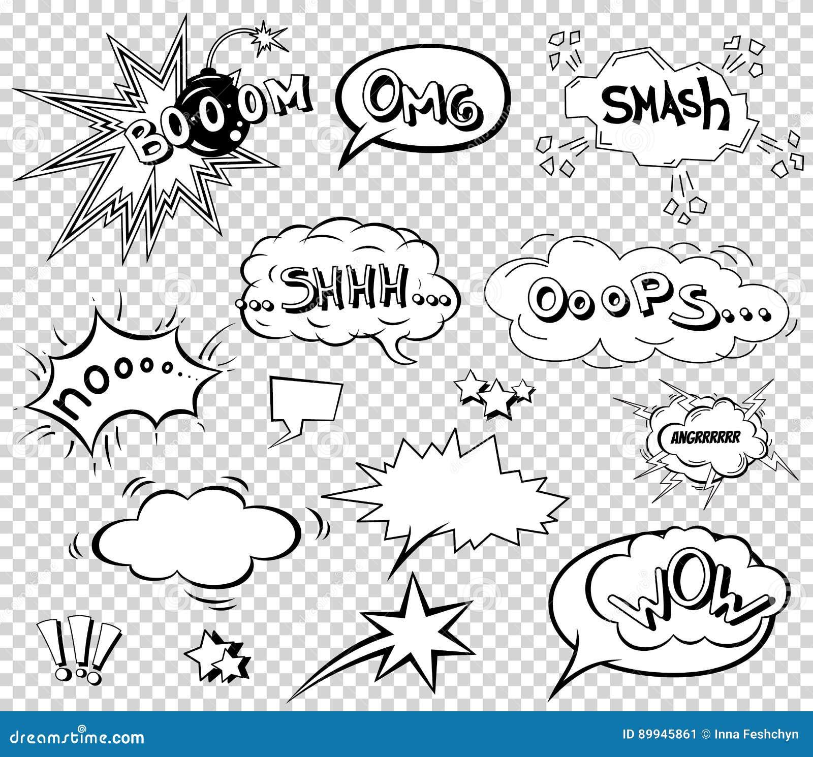 Komiczni mowa bąble ustawiają, formułujący efekta dźwiękowego projekt dla tła, pasek Książkowa uderzenie chmura, pow i chłodno ok