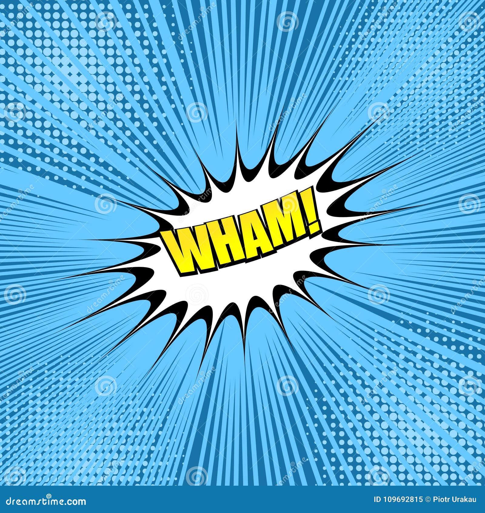 Komiczny kolorowy Wham sformułowania pojęcie