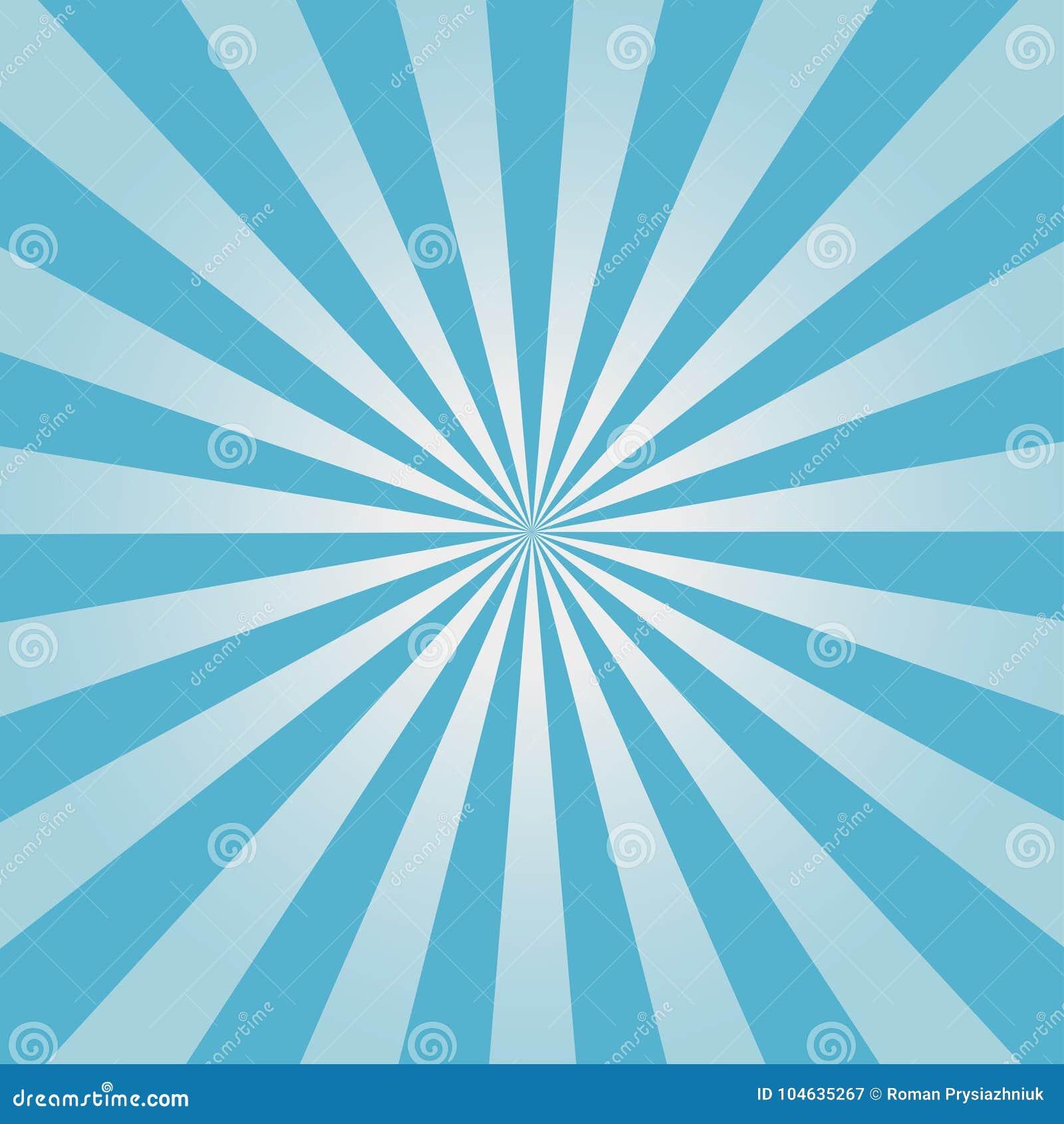 Komiczny tło Błękitny Sunburst wzór Słońce promieni abstrakta tło wektor
