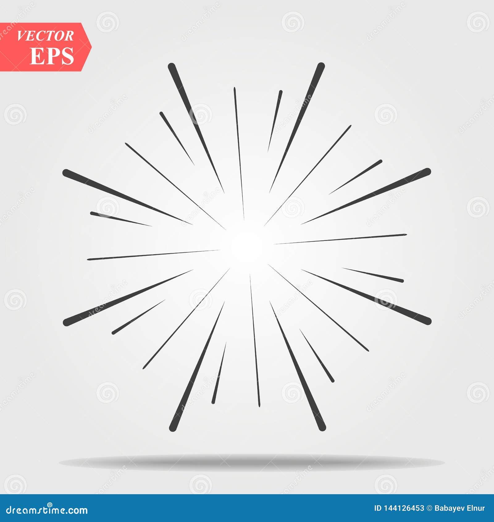 Komiczny wybuchu skutek Promieniujący, promieniowe linie Starburst, sunburst element