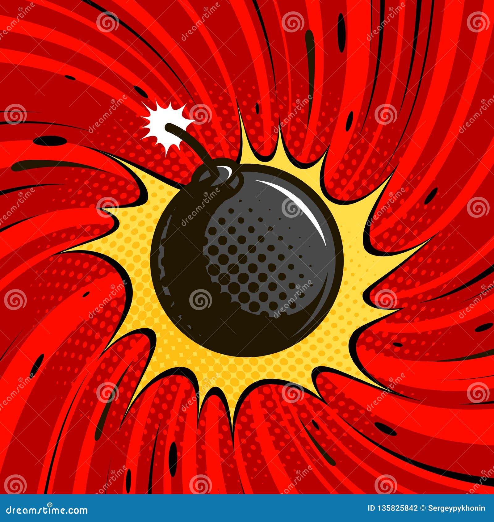 Komiker bombarderar exploderar Dynamit rund cannonball med brand den främmande tecknad filmkatten flyr illustrationtakvektorn