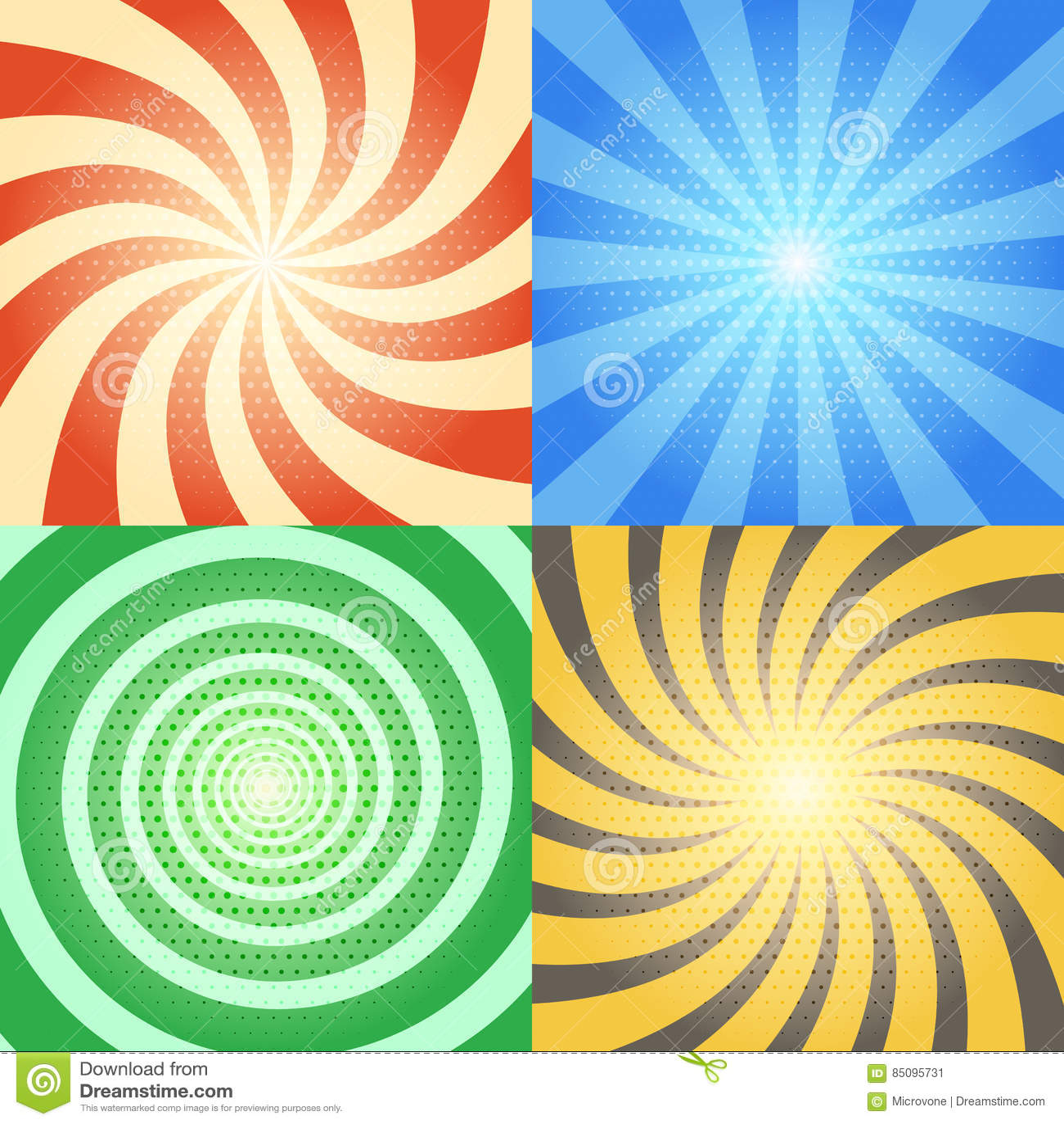 Komiksów wektorowi tła ustawiający Retro sunburst i spirali skutki z halftone wzorem
