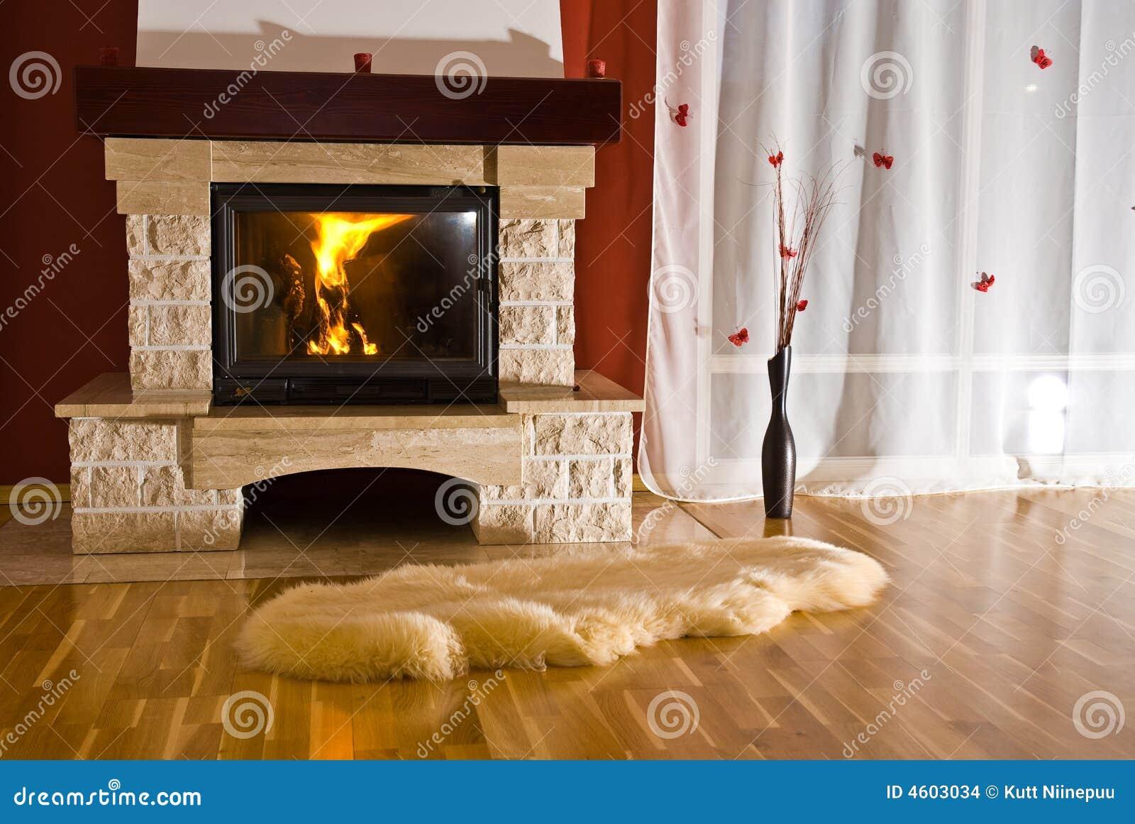 Kominek W Domu Dywan Zdjęcie Stock Obraz Złożonej Z