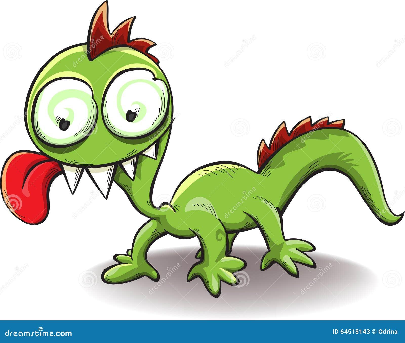 Tong Dies: Komische Draak Met Tong Die Uit Hangen Vector Illustratie