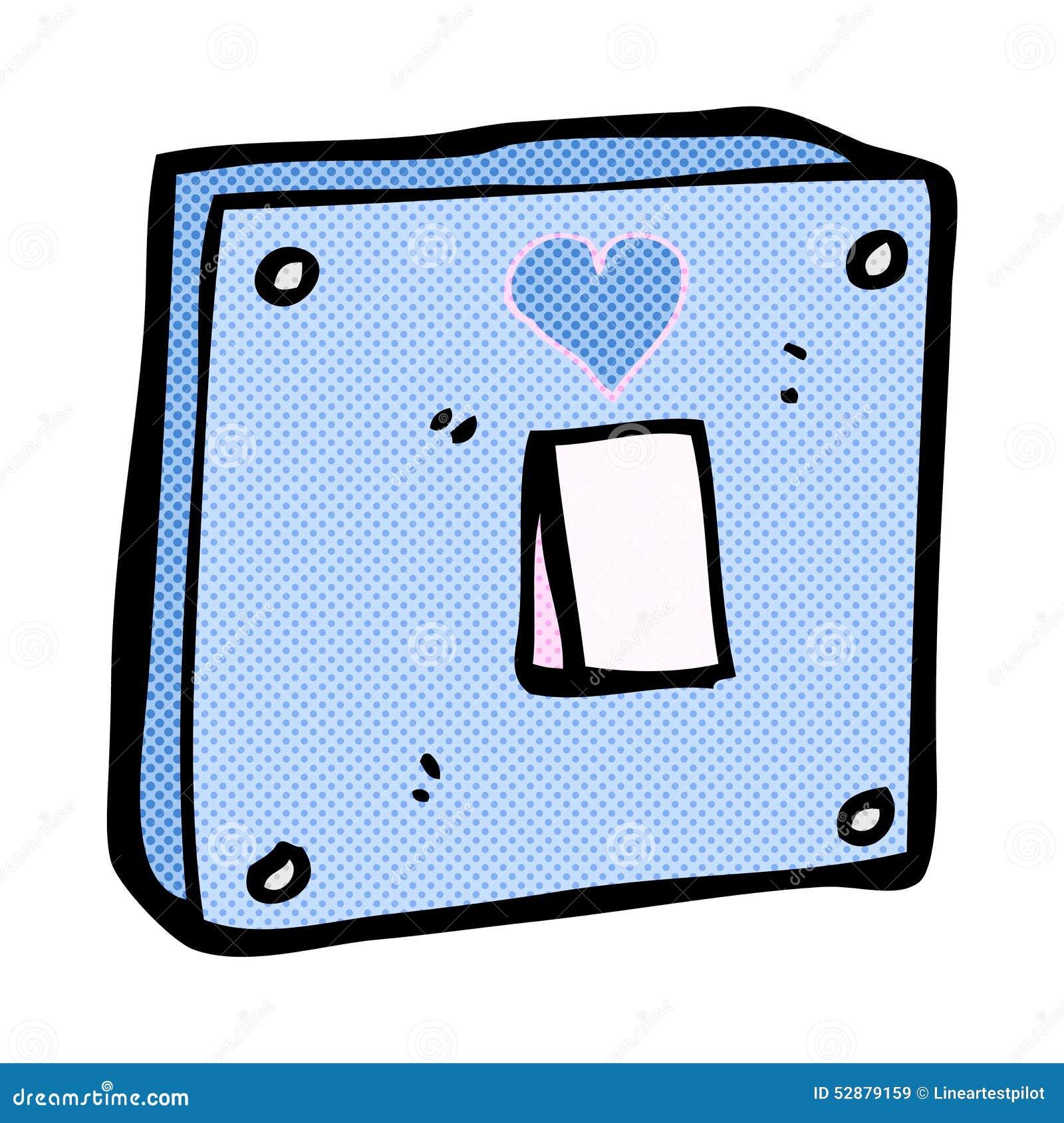 komische karikatur drehen mich auf lichtschalter stock abbildung bild 52879159. Black Bedroom Furniture Sets. Home Design Ideas