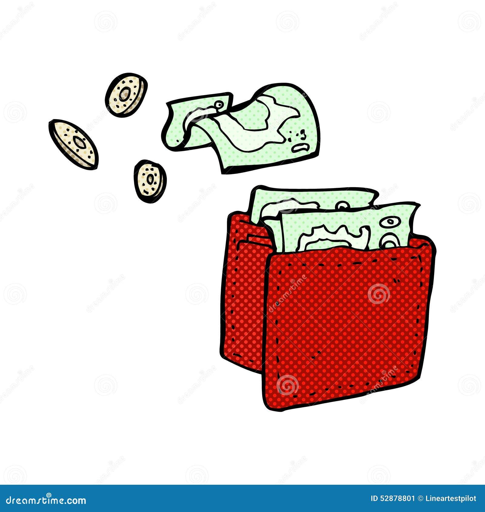 Komische Karikaturgeldbörse, die Geld verschüttet