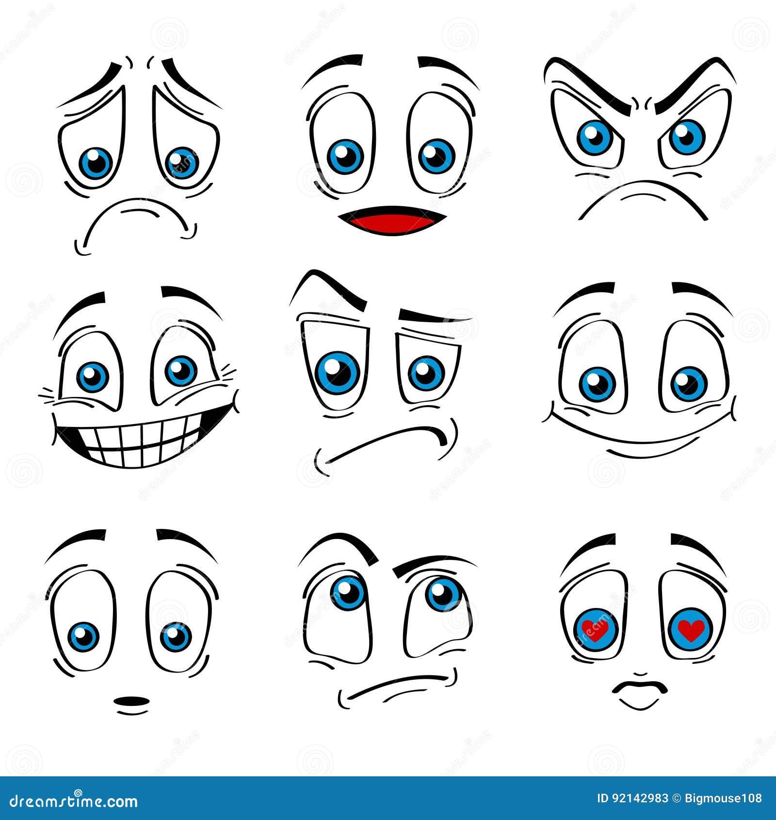Komischer Art-Gesichts-Gefühl-Ausdruck-Satz Vektor Vektor Abbildung ...
