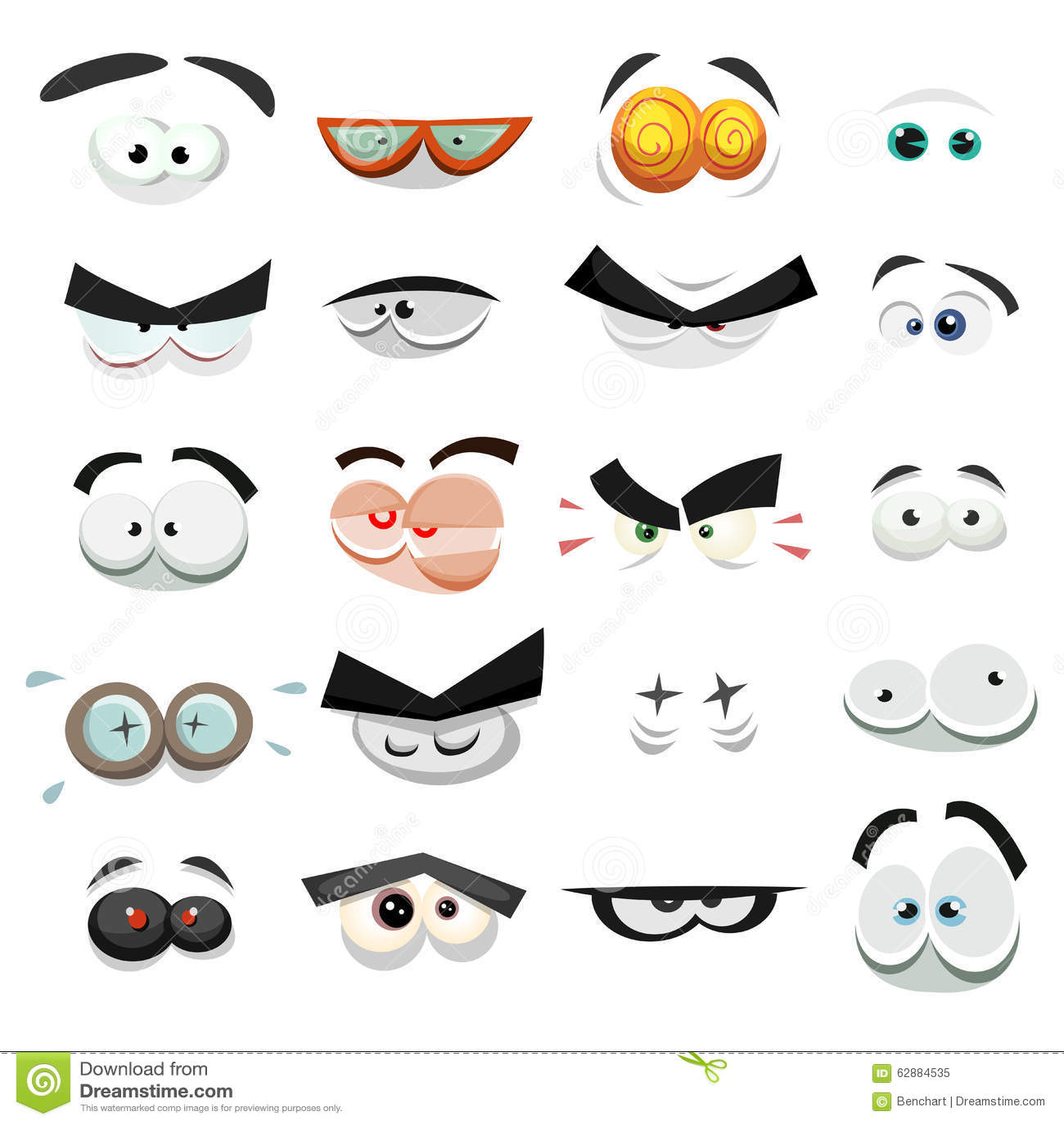 Komischer Augen-Ausdruck-Satz Vektor Abbildung - Illustration von ...