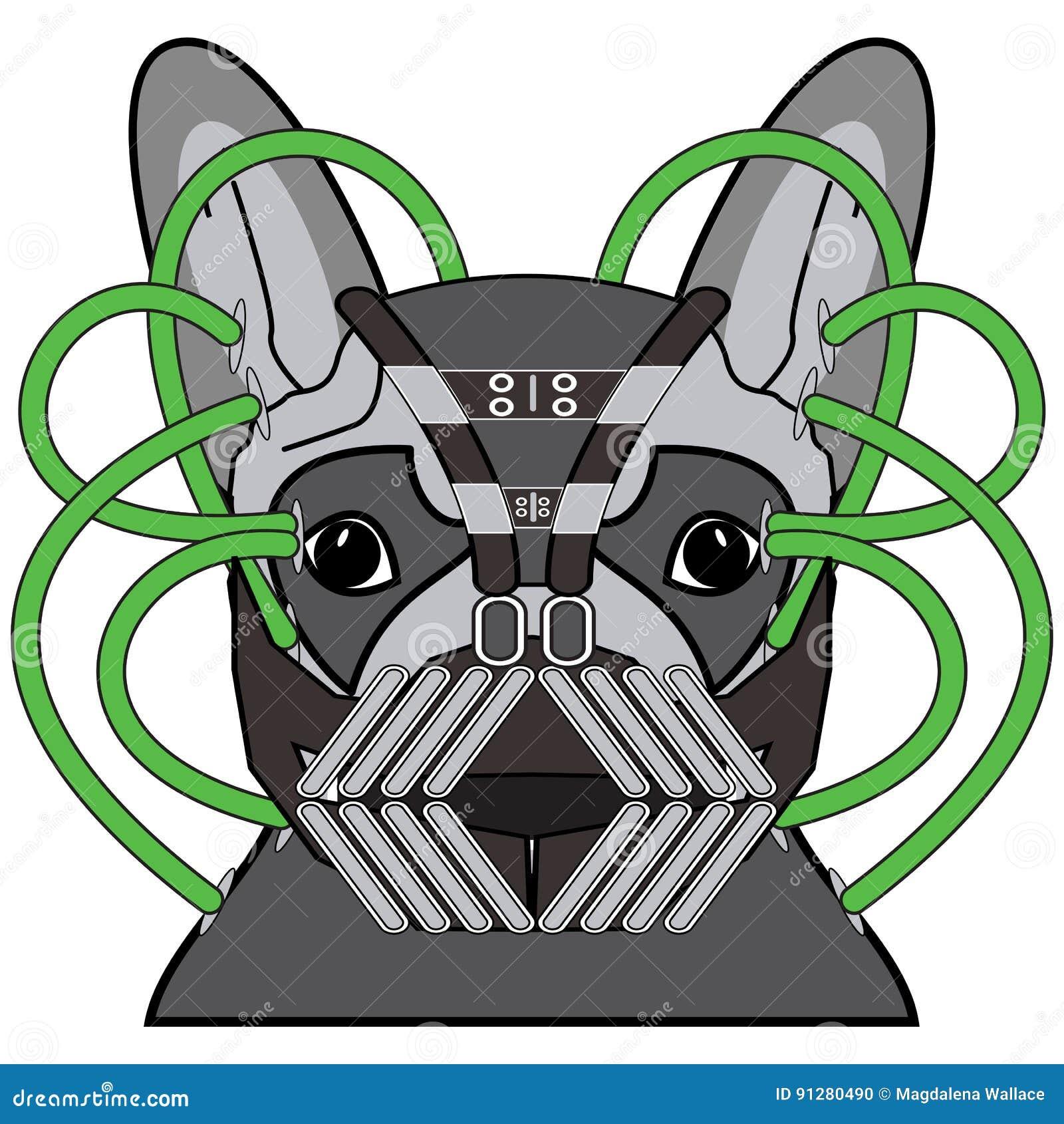 Komiskt rackaresymbol i mörker - grå dräkt, med rör för metallmaskeringsgräsplan som ett tecken för fransk bulldogg