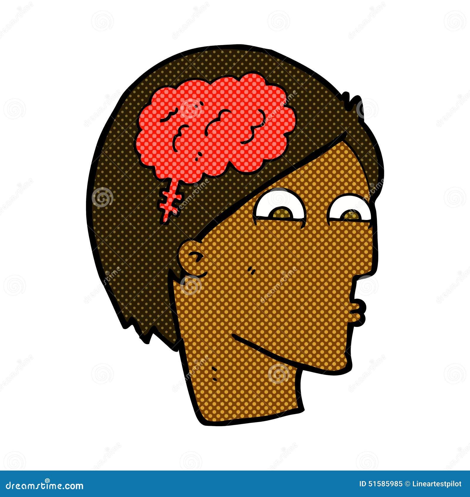 Komiskt tecknad filmhuvud med hjärnsymbol