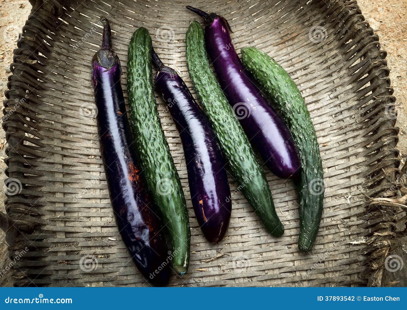 Komkommer en aubergine