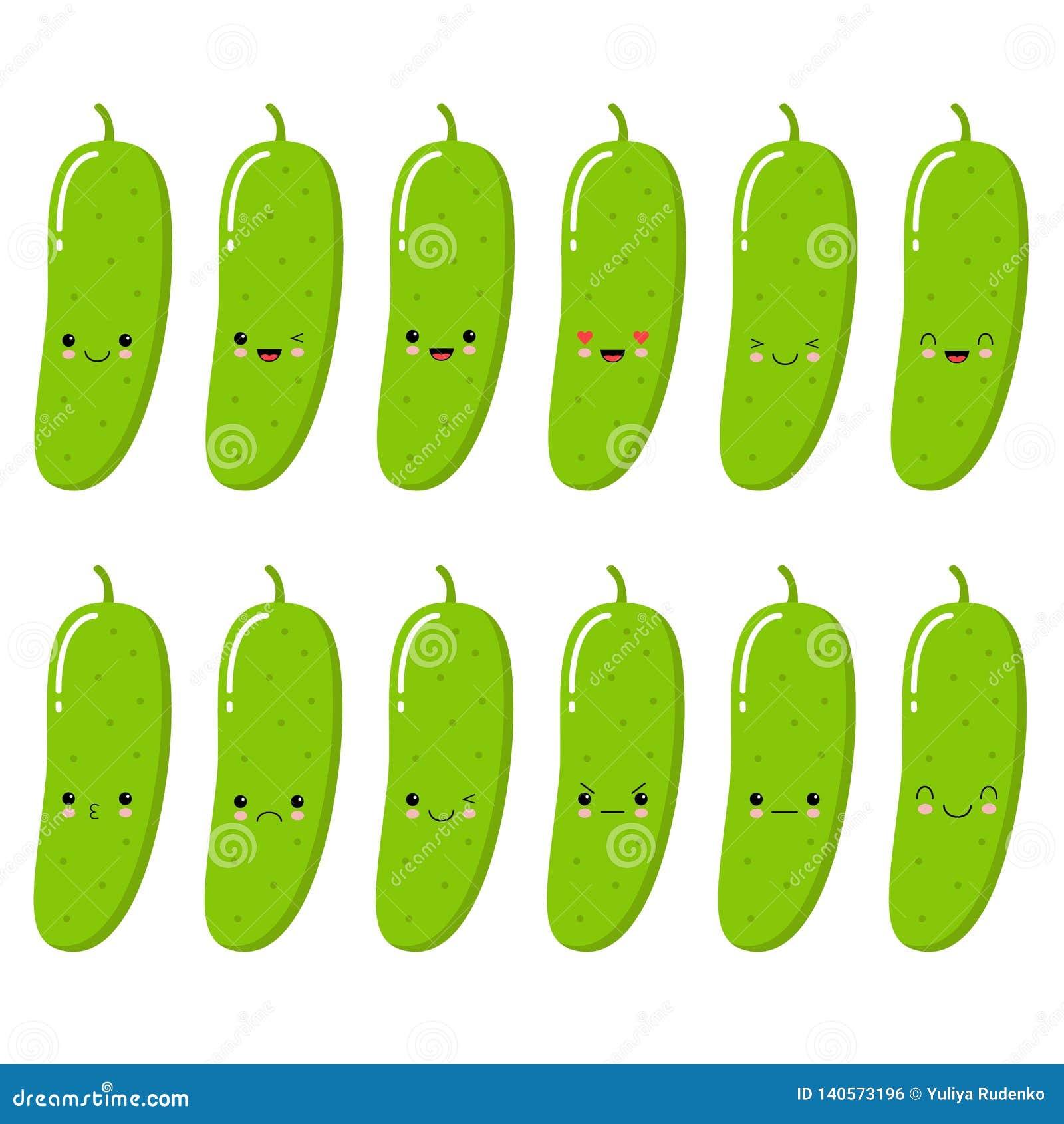 Komkommer Plantaardig Voedselconcept De inzameling van Emojiemoticon Kawaiistijl