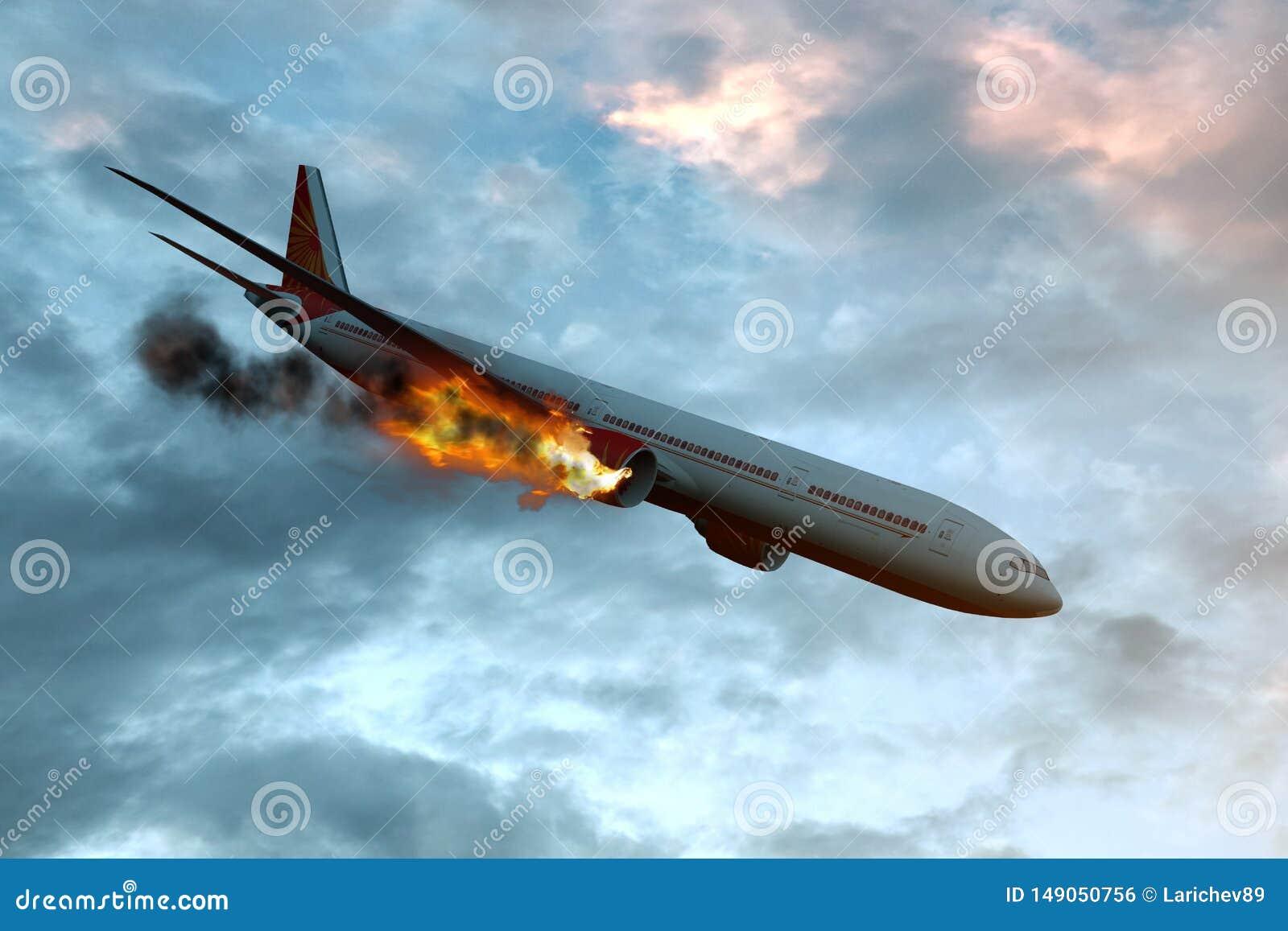 Kommersiellt flygplan med motorn p? brand, begrepp av den flyg- katastrofen illustration 3d