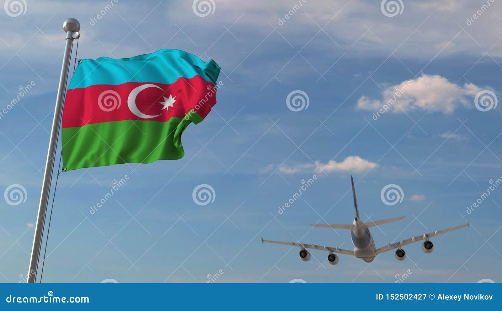 Kommersiellt flygplanflyg över nationsflaggan av Azerbajdzjan Azerbajdzjansk flygtransport gällde tolkningen 3D