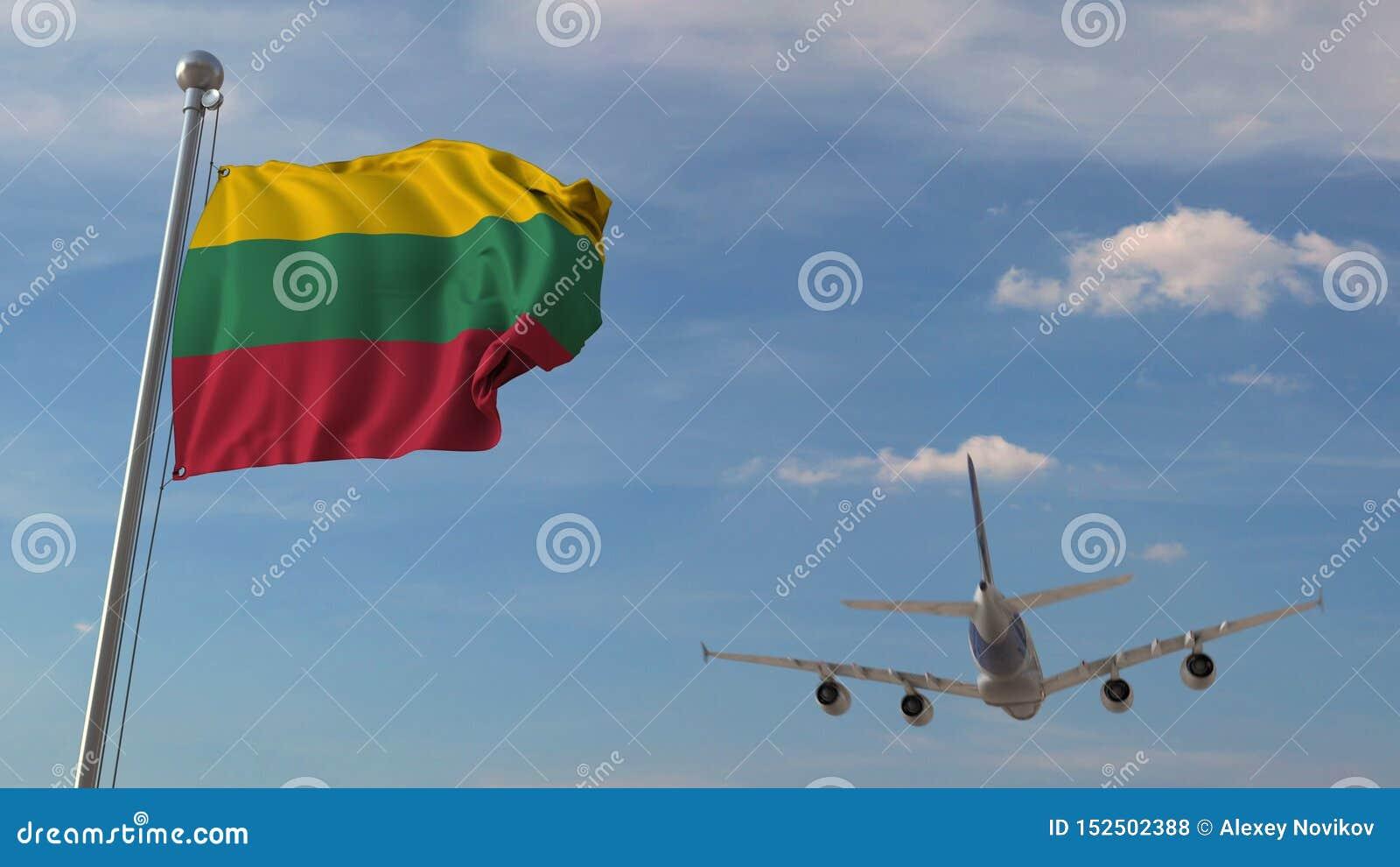 Kommersiellt flygplanflyg över nationsflaggan av Litauen Litauisk flygtransport gällde tolkningen 3D