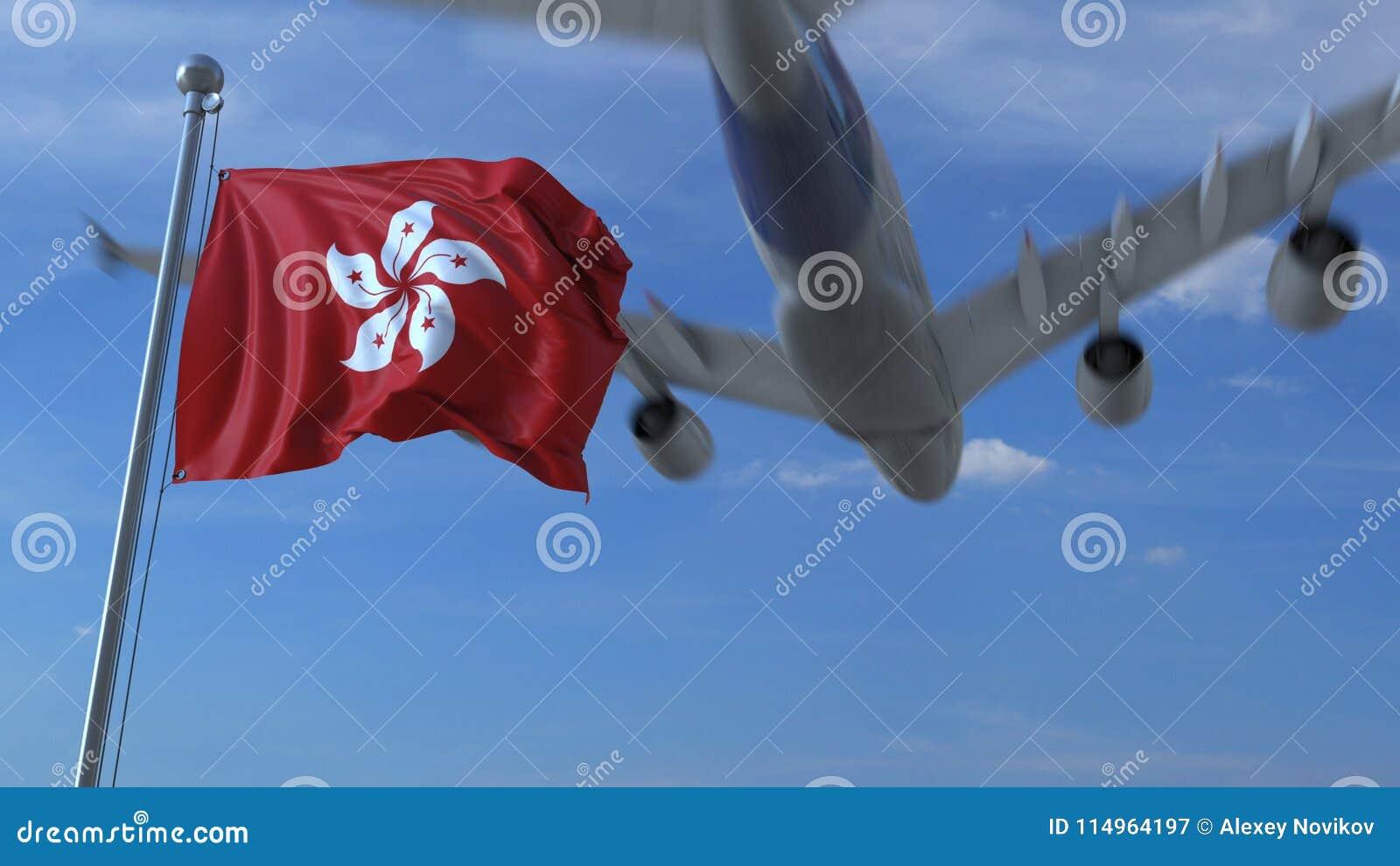 Kommersiellt flygplanflyg ovanför vinkande flagga av Hong Kong framförande 3d