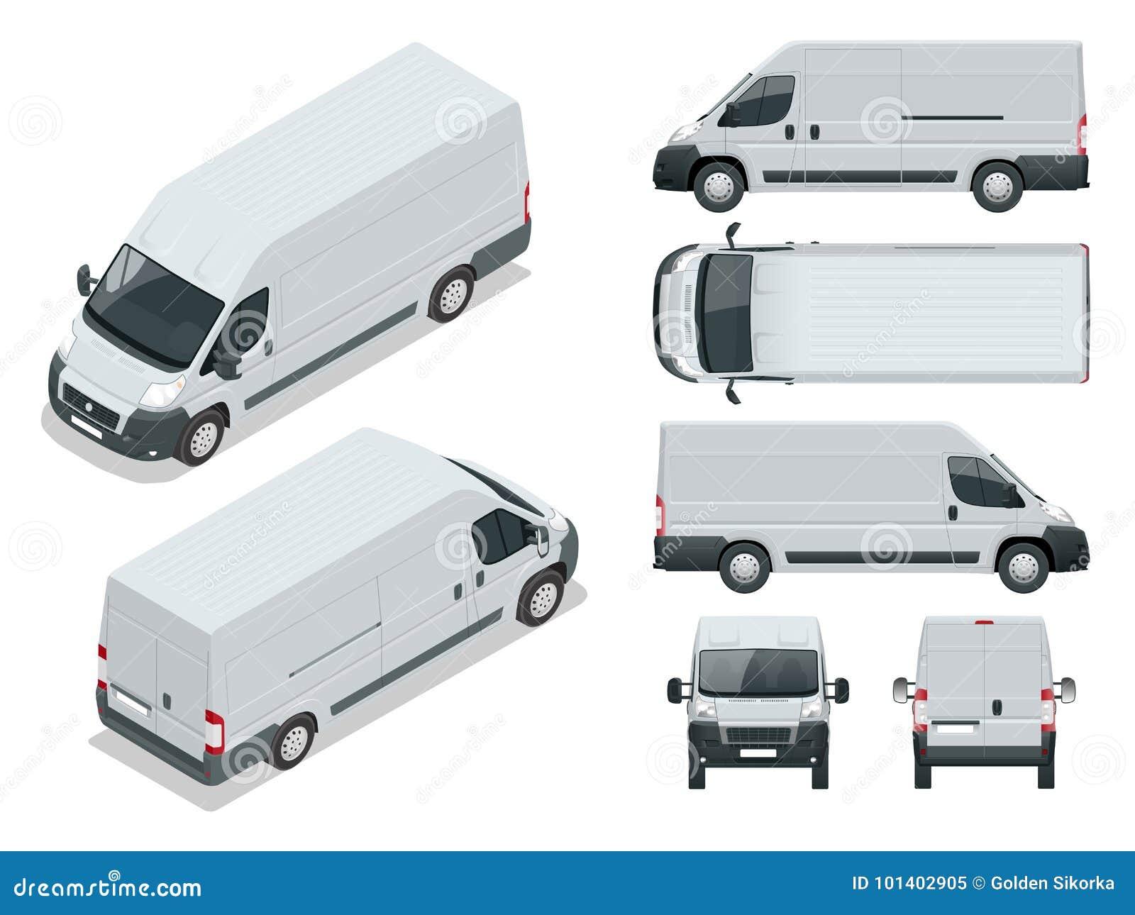 Kommersiellt medel Logistisk bil Lastminivan på vit bakgrund Framdel-, baksida-, för sida, bästa och isometry framdel