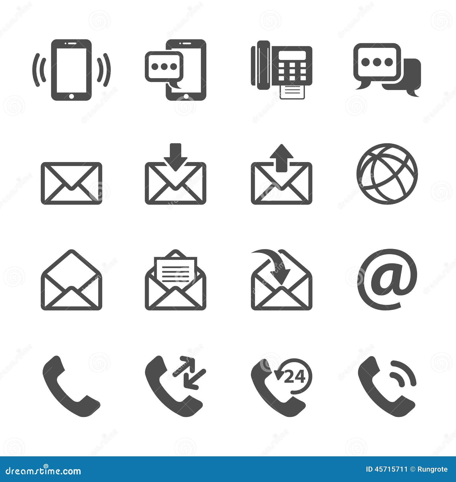 Kommunikation av telefon- och emailsymbolsuppsättningen, vektor eps10