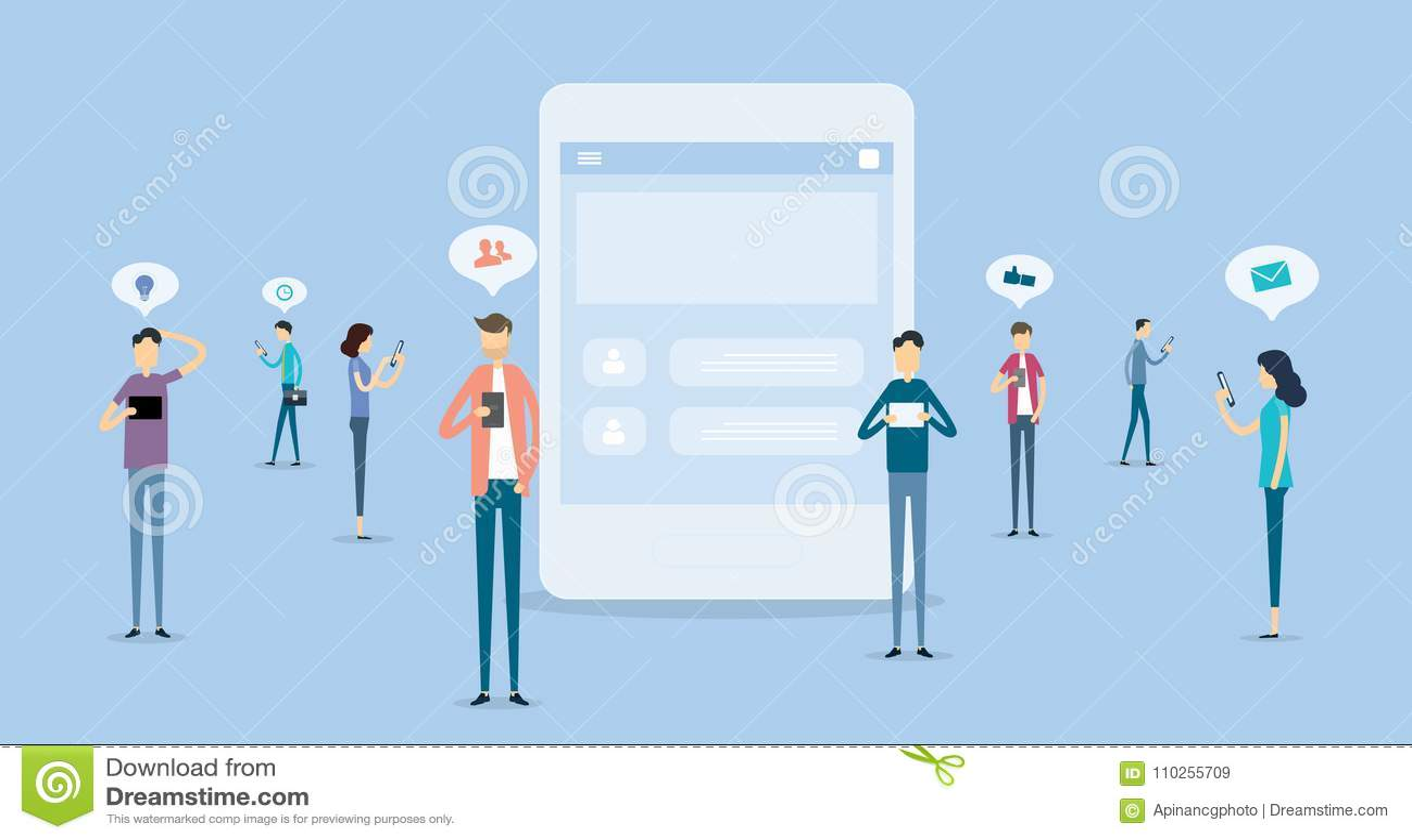 Kommunikation för affärsfolk på socialt nätverksbegrepp