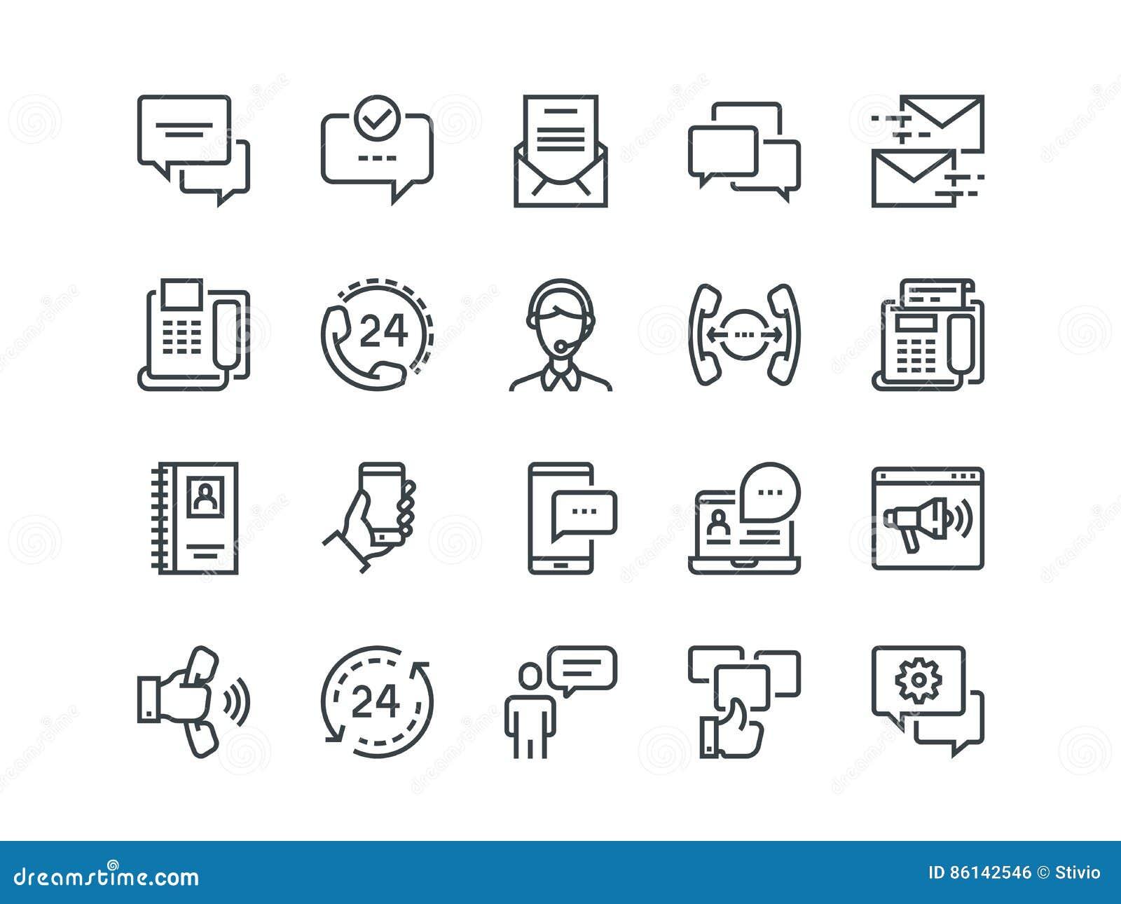 Kommunikation Satz Entwurfsvektorikonen Schließt wie Telefon-Anrufe, Videochat, on-line-Unterstützung und andere ein