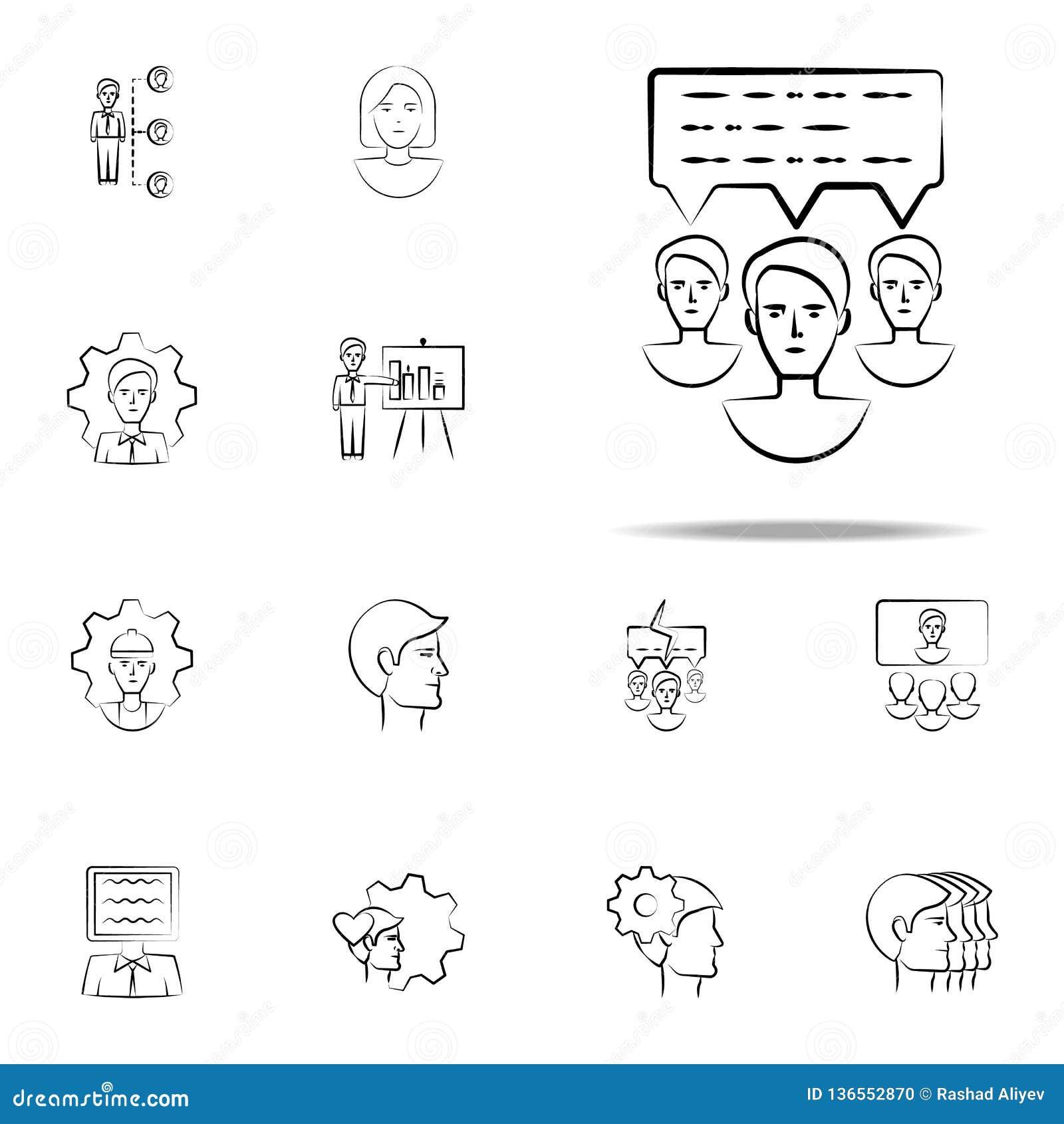 Kommunikation utdragen symbol för meddelandehand Universell uppsättning för affärssymboler för rengöringsduk och mobil