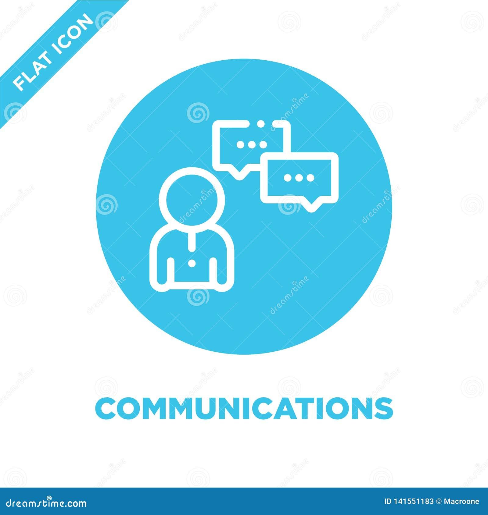 Kommunikationssymbolsvektor Tunn linje illustration för vektor för kommunikationsöversiktssymbol kommunikationssymbol för bruk på