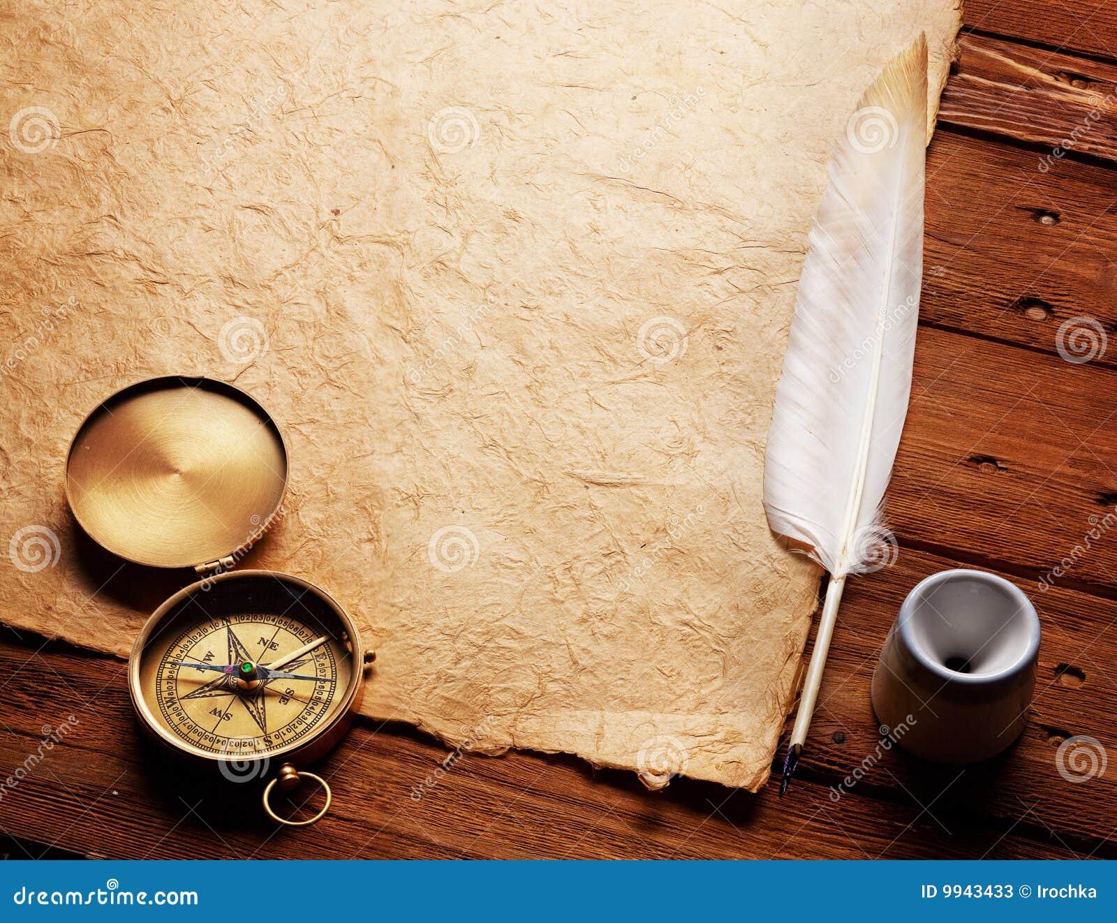 kompa tintenfa und feder auf einem alten papier stockbild bild von kunst antike 9943433. Black Bedroom Furniture Sets. Home Design Ideas