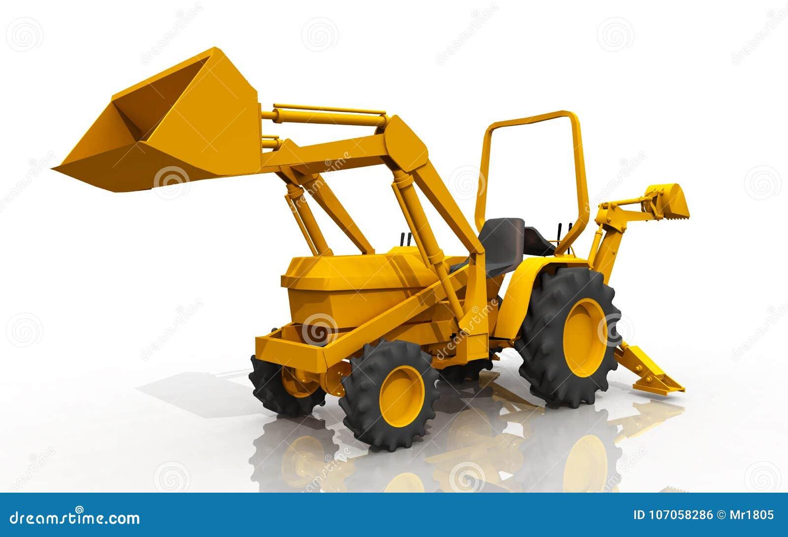 Kompakter traktor frontlader und löffelbagger gegen einen weißen