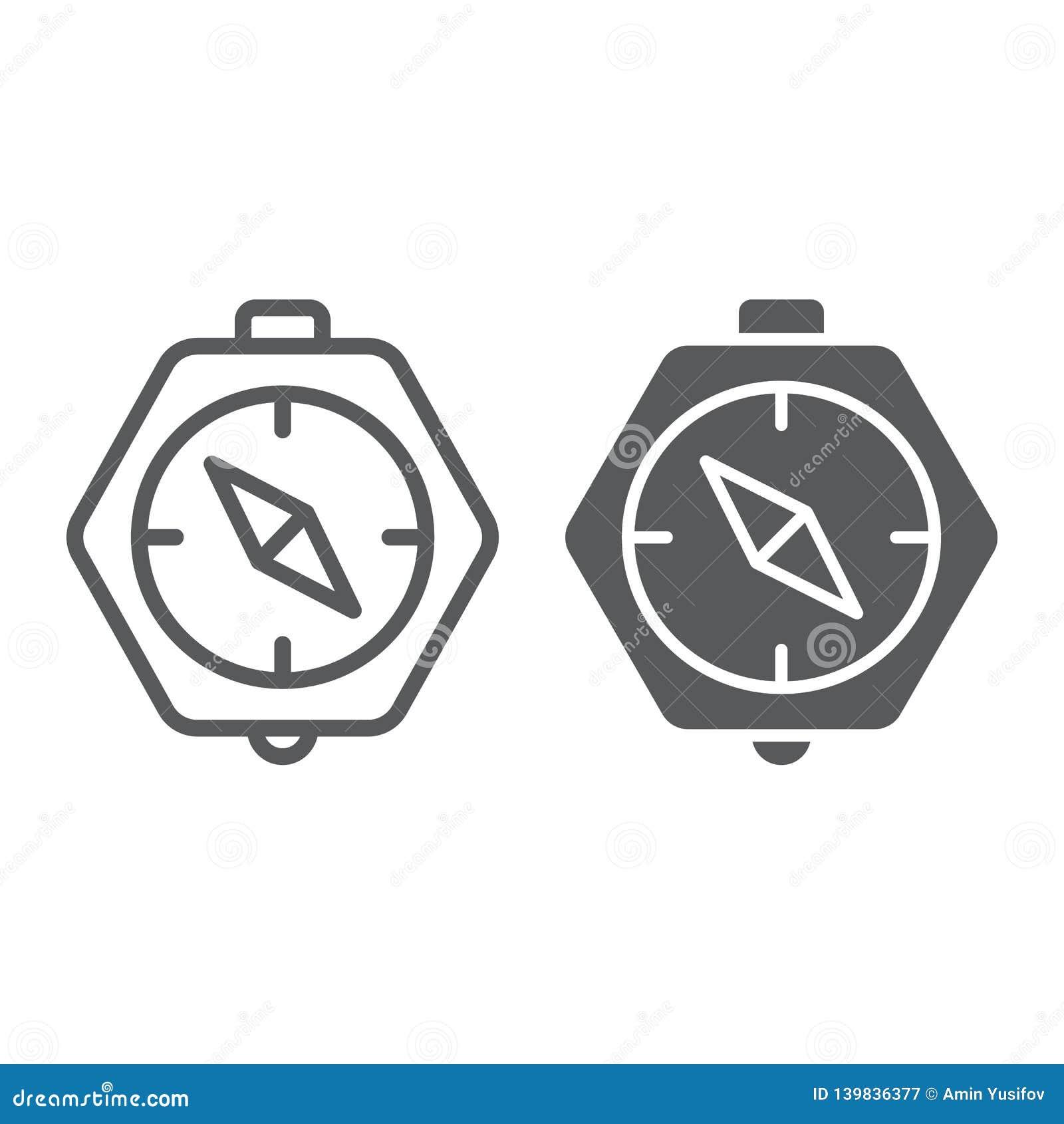 Kompaslijn en glyph pictogram, aardrijkskunde en richting, navigatieteken, vectorafbeeldingen, een lineair patroon op een wit