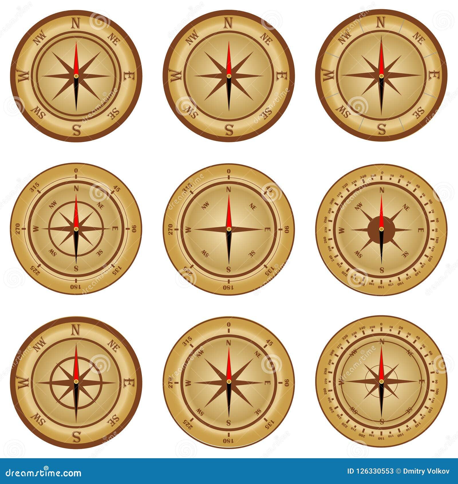 Kompass en uppsättning av realistisk passare metall för symbol för green för huvuddelmittkompass