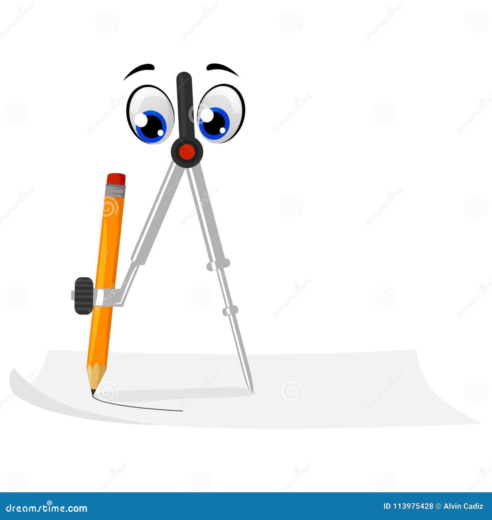 Kompass Maskottchen Mit Bleistift Zeichnung Ein Kreis Vektor
