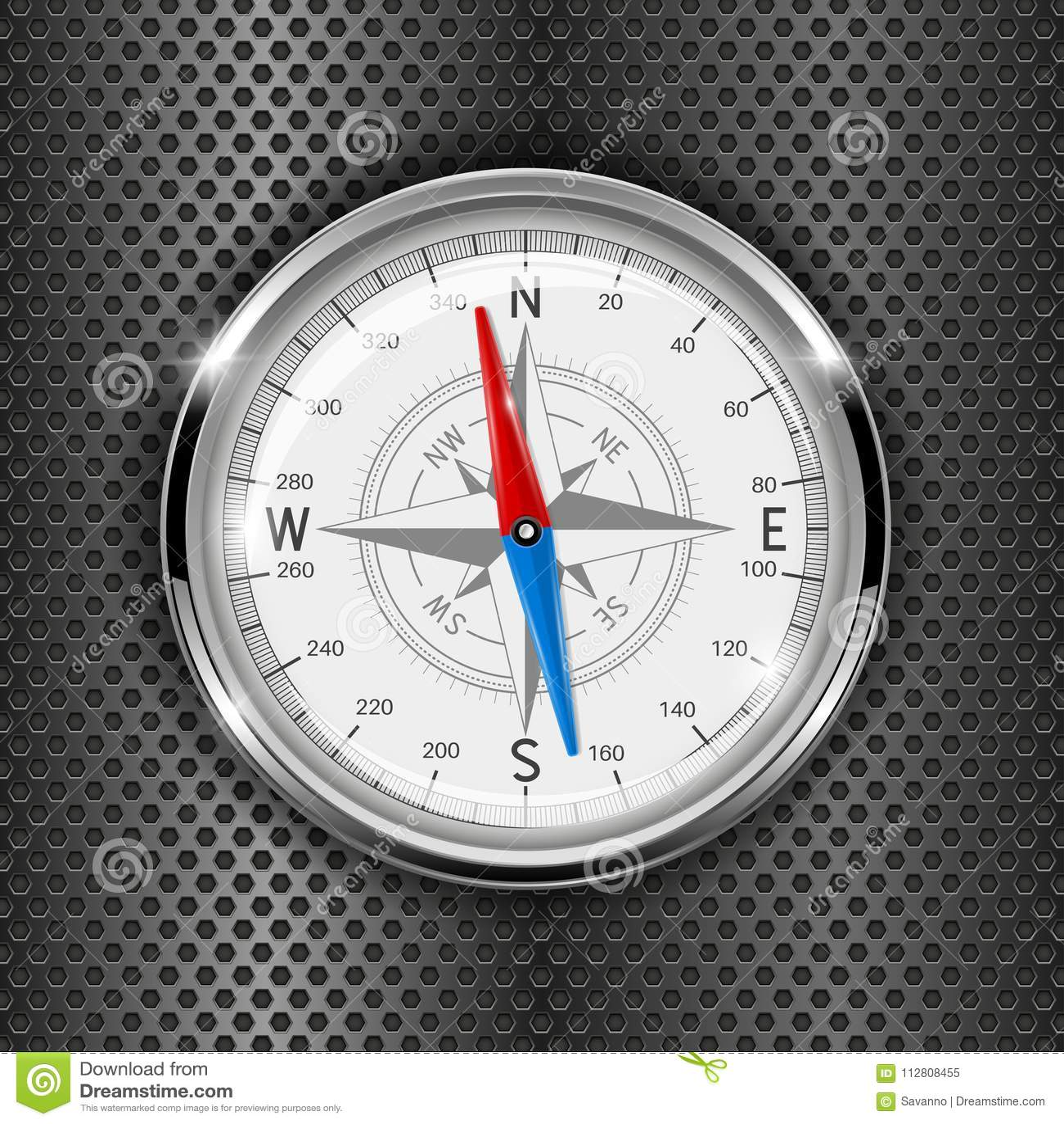 Kompass Metallmått på perforerad bakgrund för järn