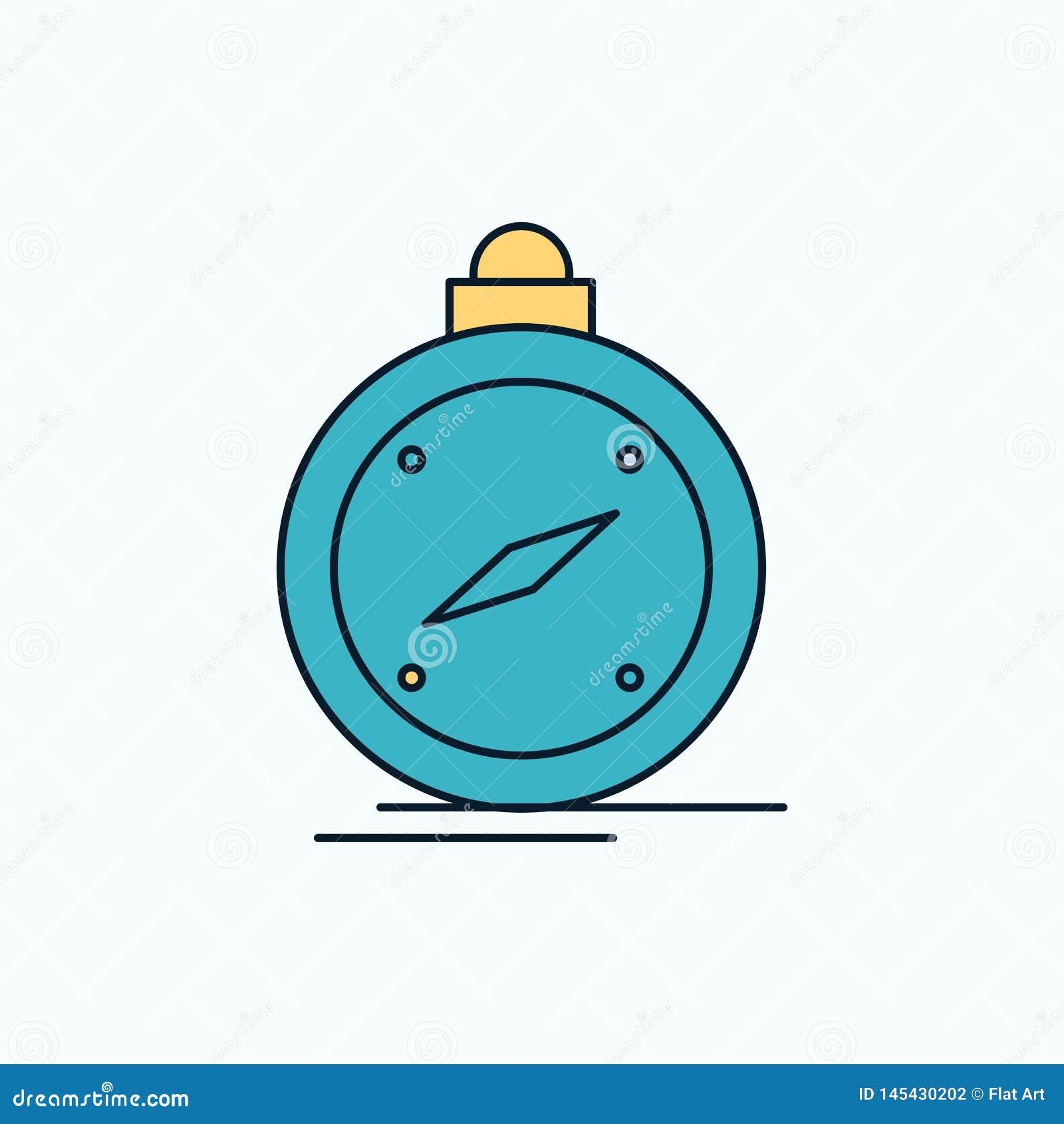 Kompass riktning, navigering, gps, plan symbol för läge gr?nt och gult tecken och symboler f?r website och mobil appliation