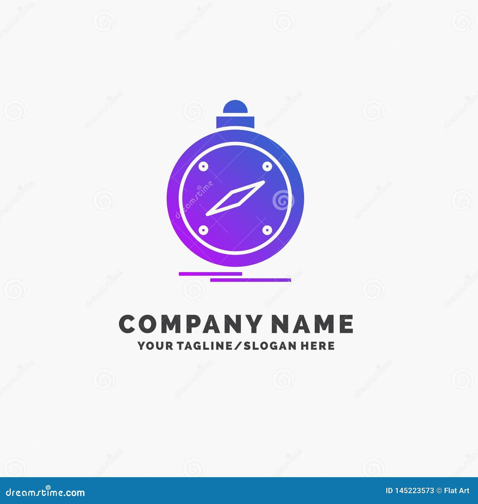 Kompass riktning, navigering, gps, purpurf?rgad aff?r Logo Template f?r l?ge St?lle f?r Tagline