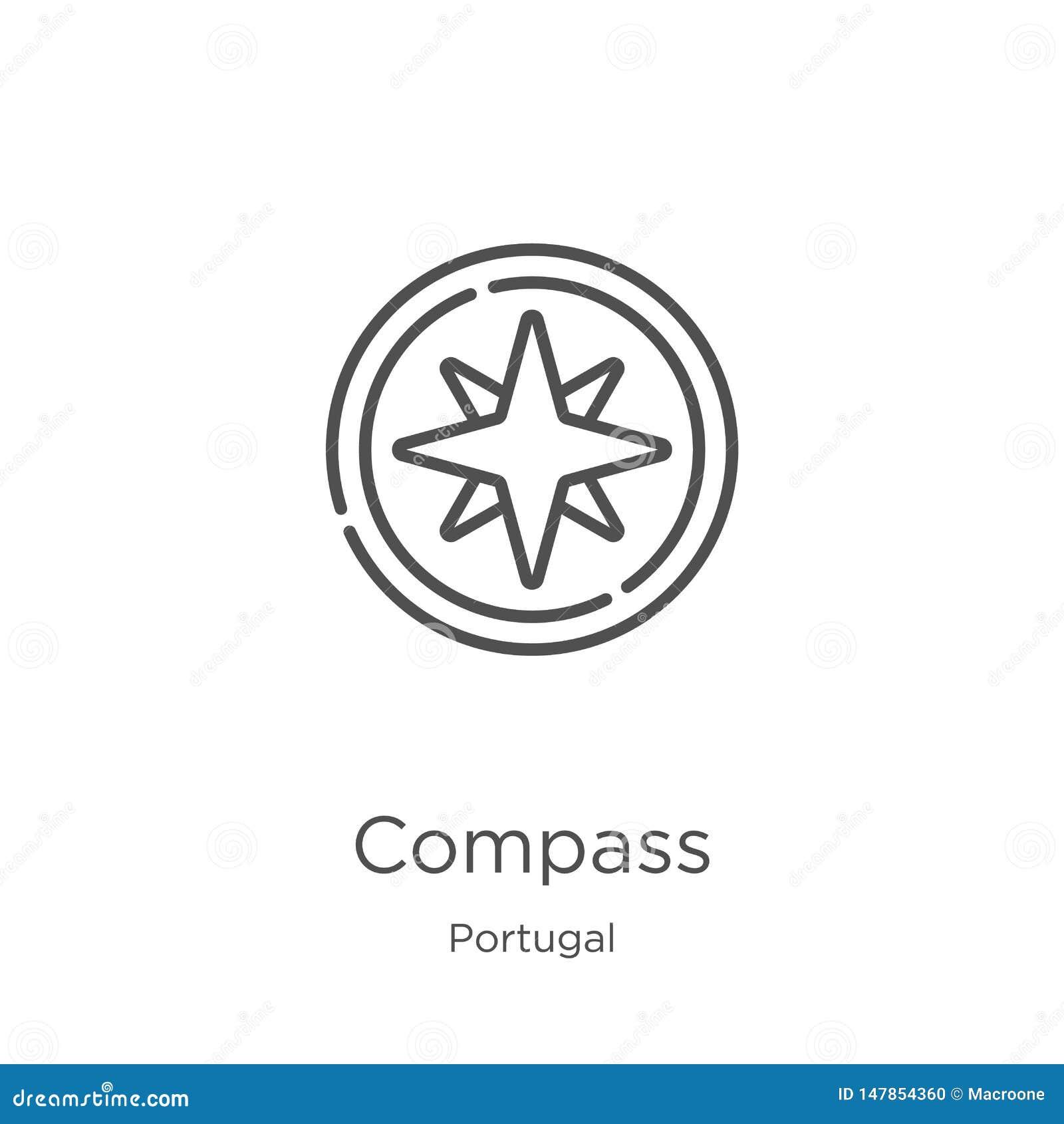 Kompasssymbolsvektor från den Portugal samlingen Tunn linje illustration f?r vektor f?r kompass?versiktssymbol ?versikt tunn linj