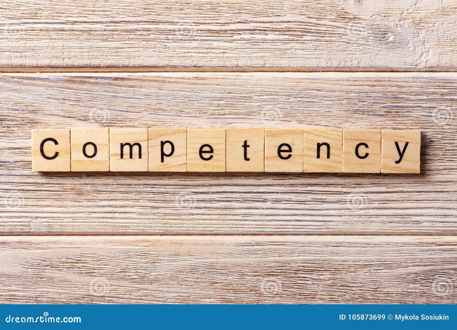 Kompetensord som är skriftligt på träsnittet Kompetenstext på tabellen, begrepp