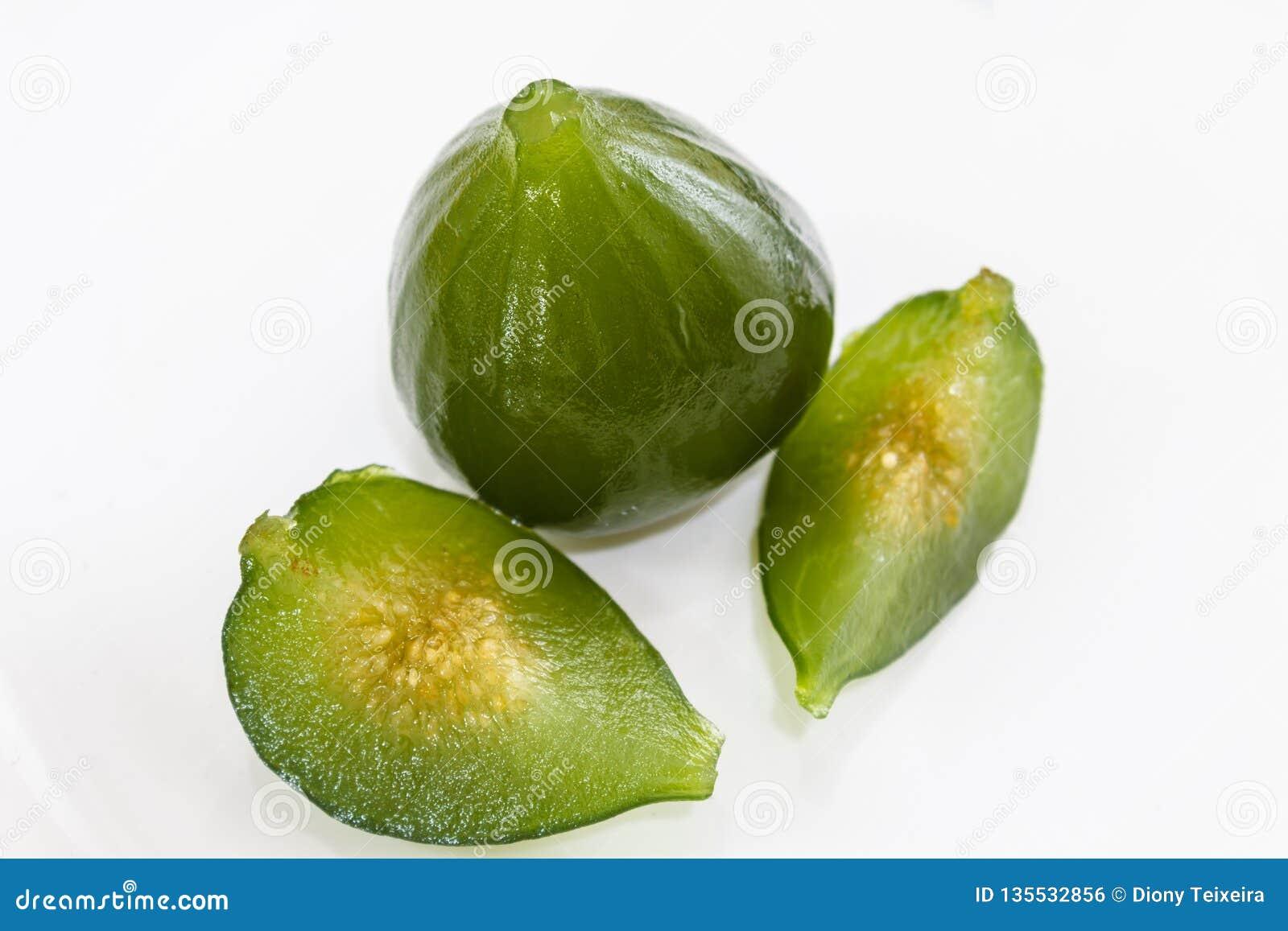 Kompott av gröna fikonträd Läcker efterrätt som tjänas som med söt pumpa och ost