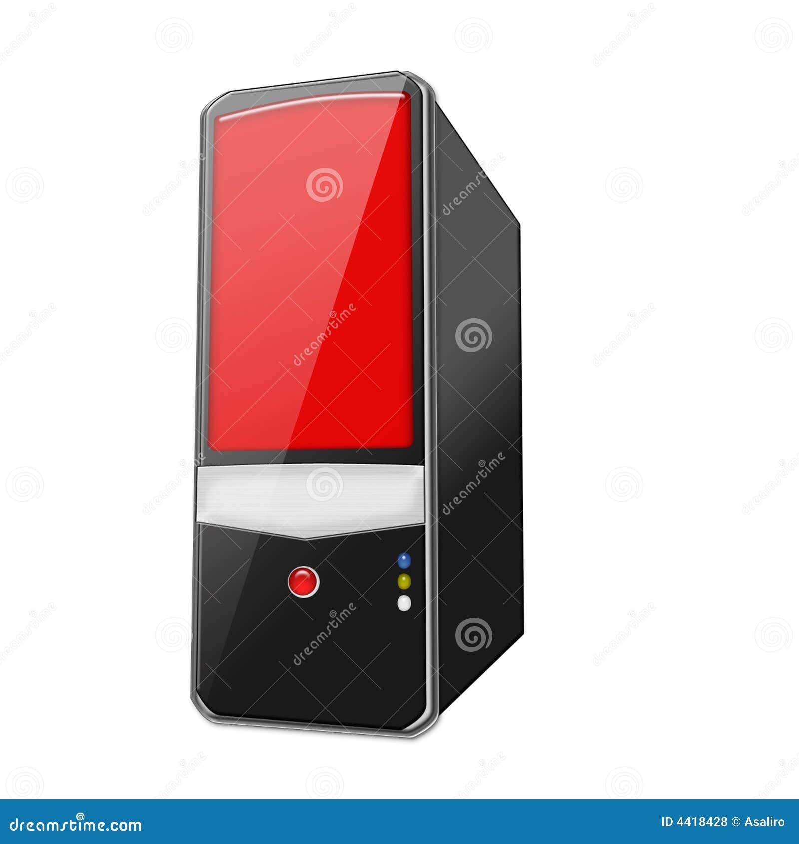 Komputer osobisty czerwony