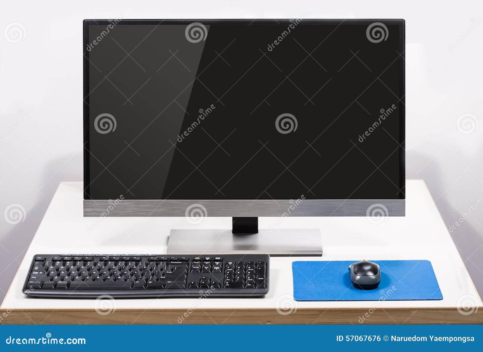 Komputer stacjonarny z parawanowym świeceniem odizolowywającym na bielu