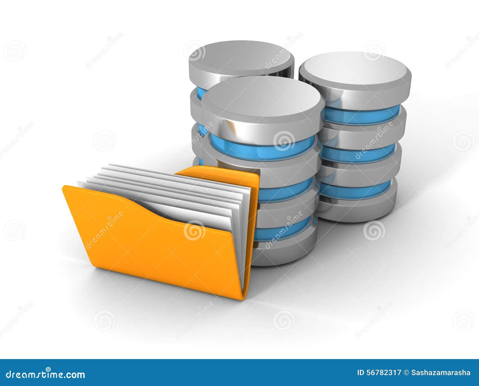 Komputerowa baza danych Z Żółtą Biurową dokument falcówką