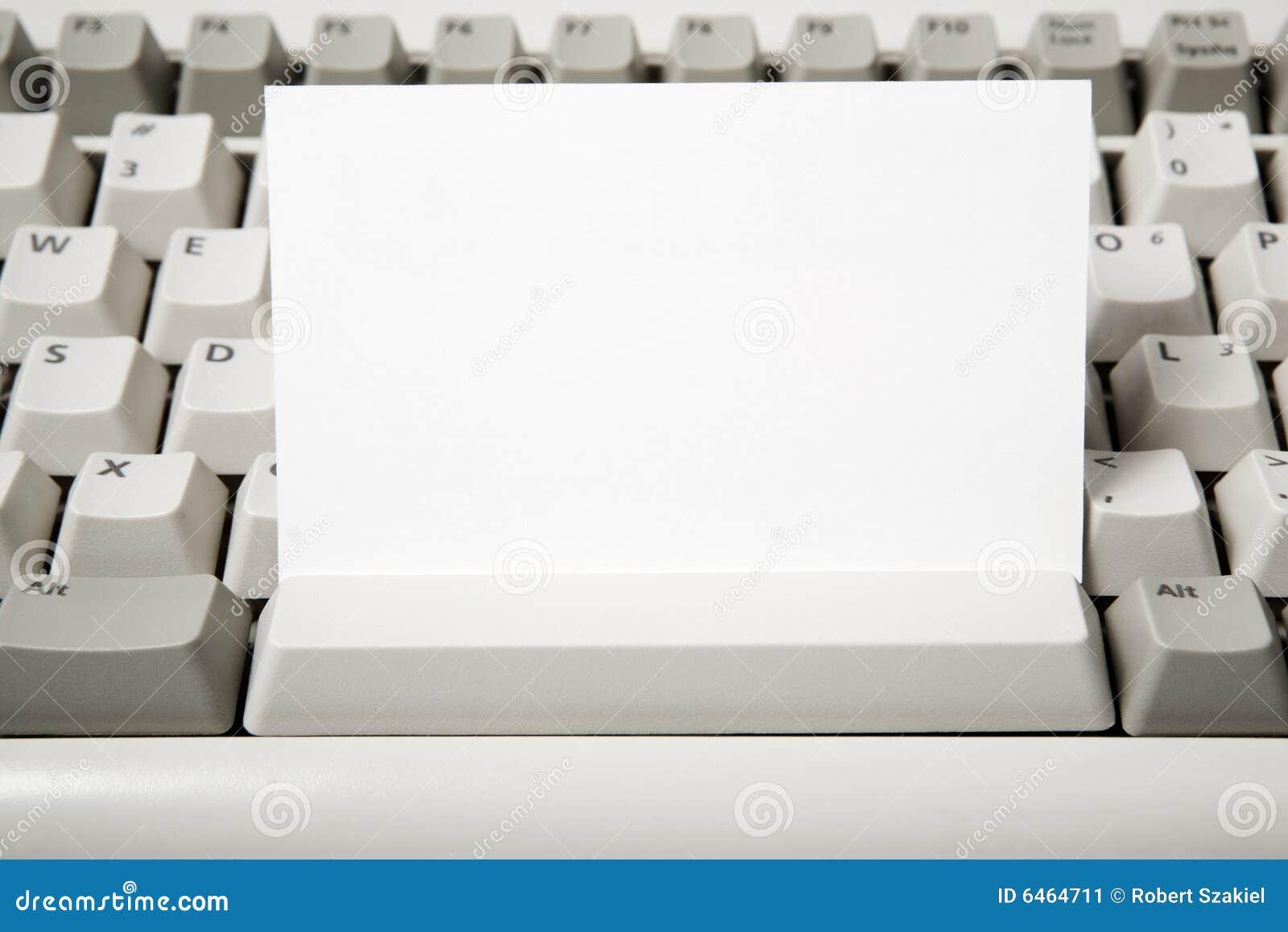 Komputerowa pustej wizytówki klawiatura