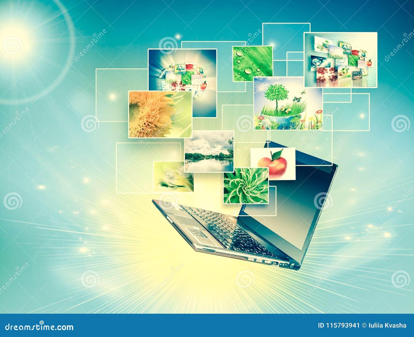Komputerowa ruchliwość, internet komunikacja i obłoczny oblicza pojęcie: laptop z chmurą koloru zastosowania ikony