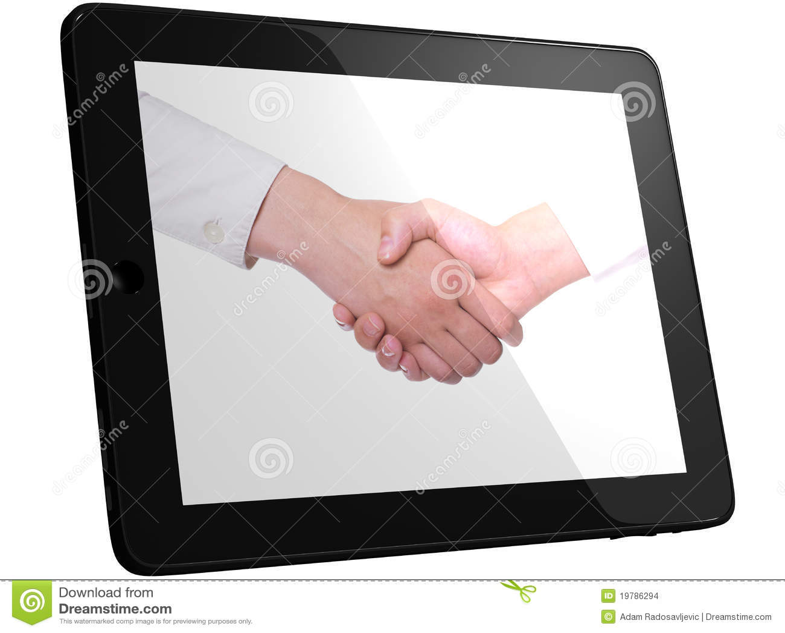 Komputerowa uścisk dłoni handshaking komputeru osobisty pastylka