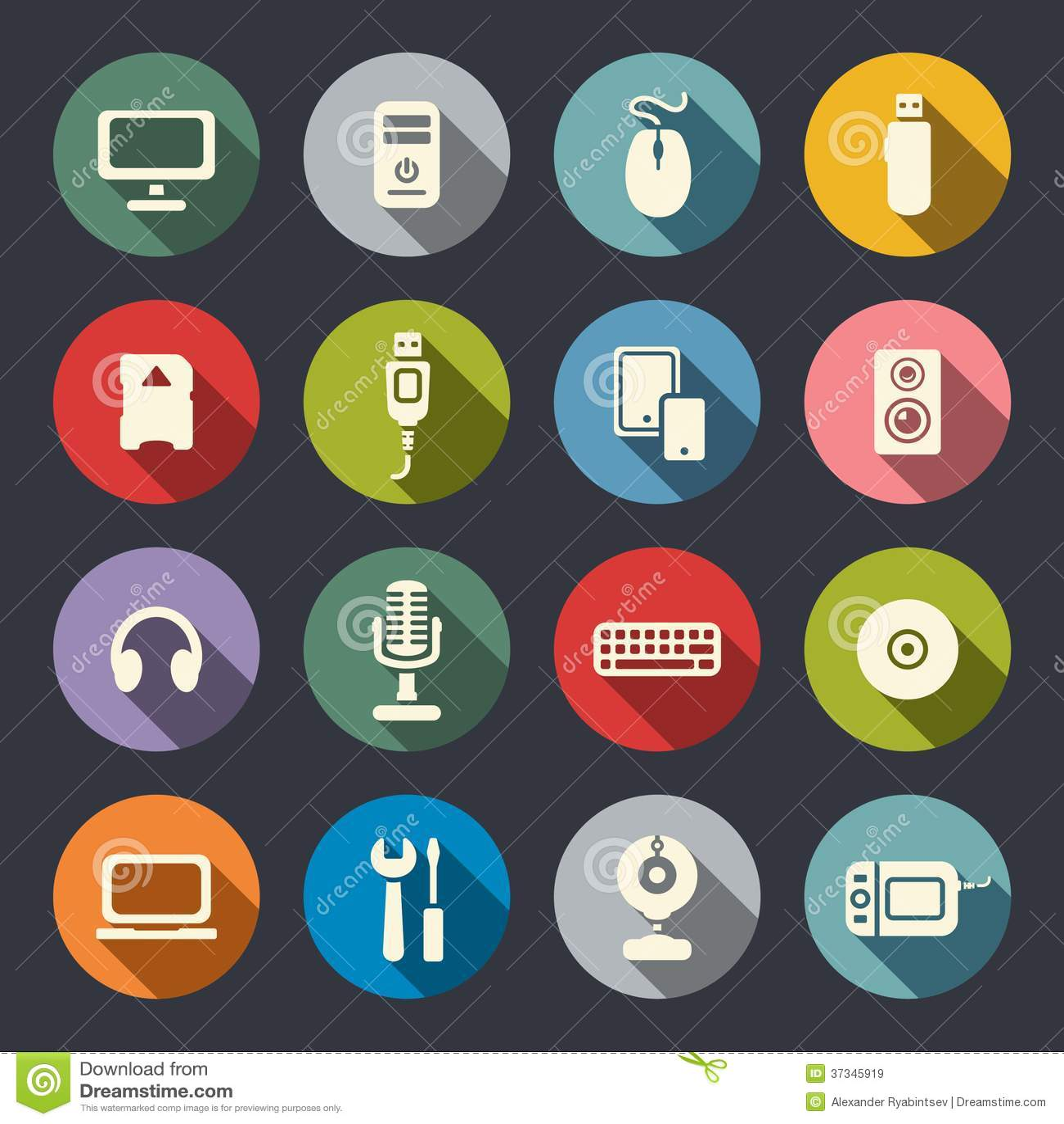 Komputerowe płaskie ikony ustawiać